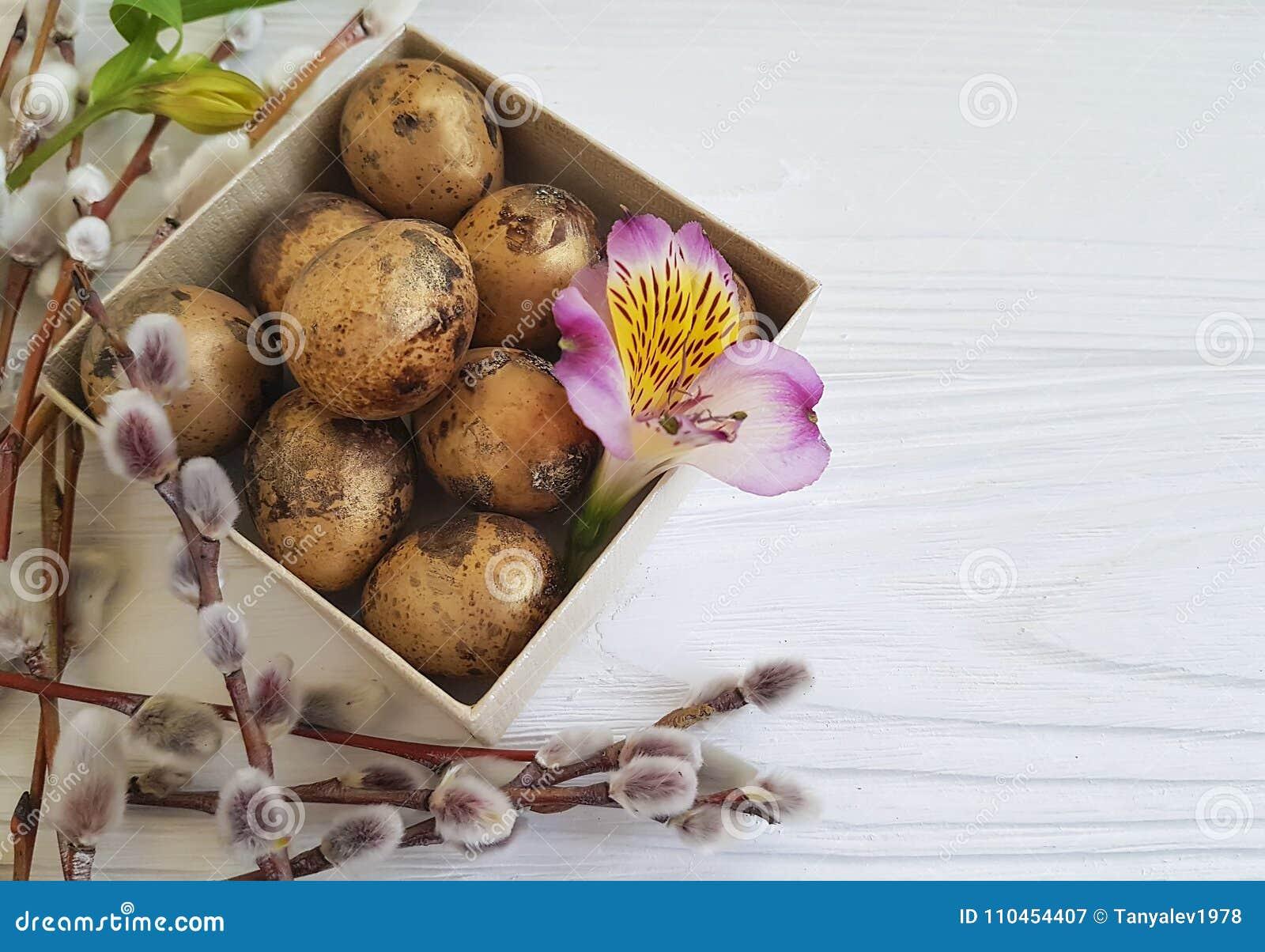 Pil påsk för ägg för vår för alstroemeria för vaktelsoftnessblomma på en vit träask