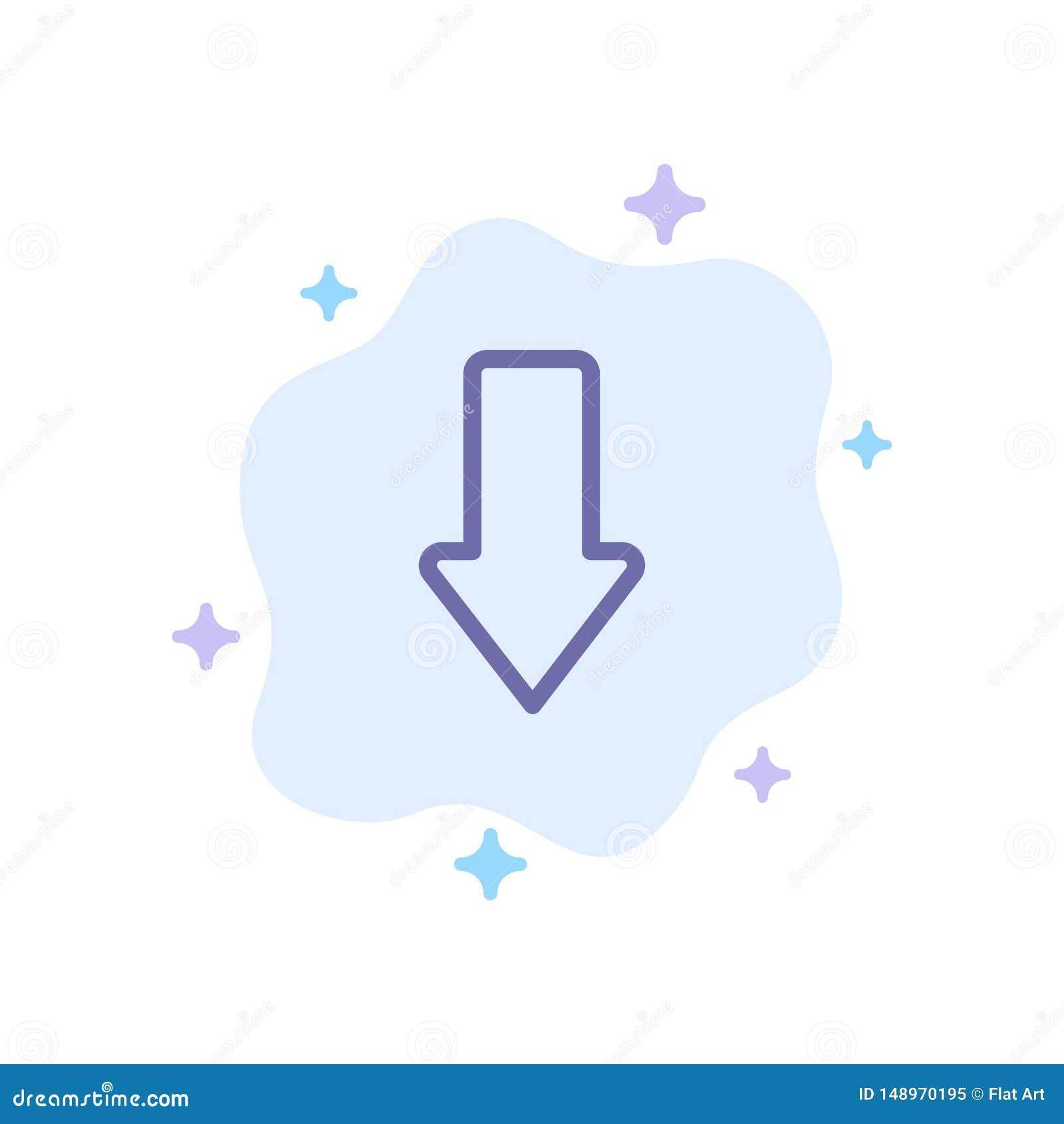 Pil pilar, ner, blå symbol för nedladdning på abstrakt molnbakgrund