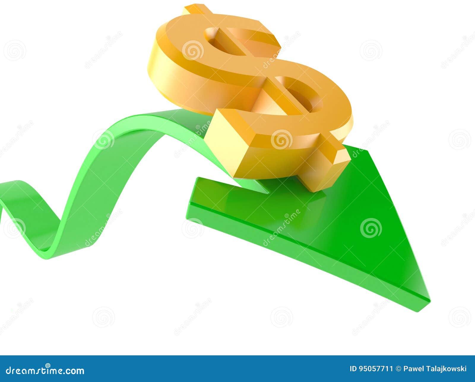 Pil som går upp med dollarvaluta