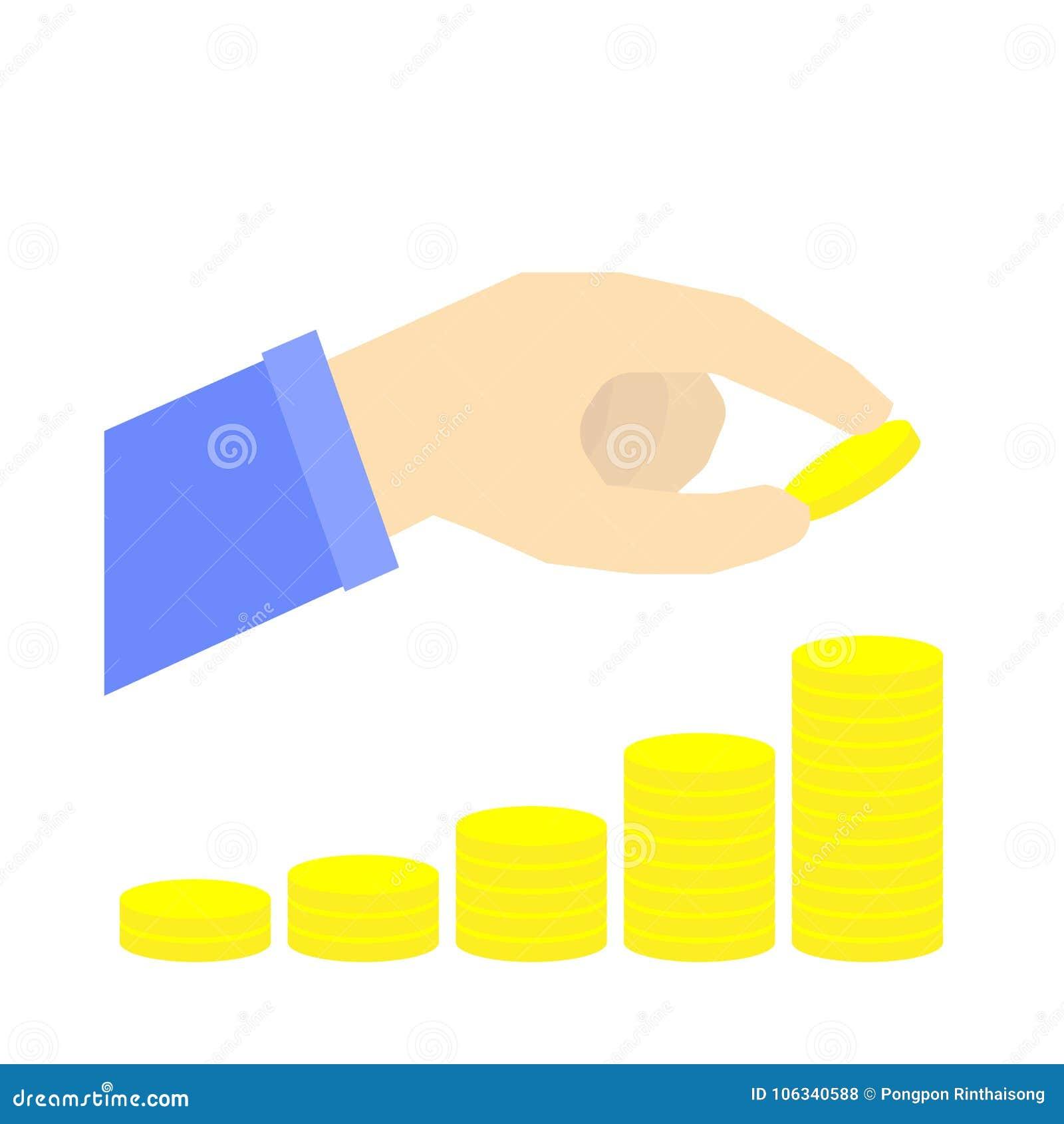 Pila aumentante di moneta con la mano, concetto di risparmio dei soldi, piano pensionistico, vettore infographic