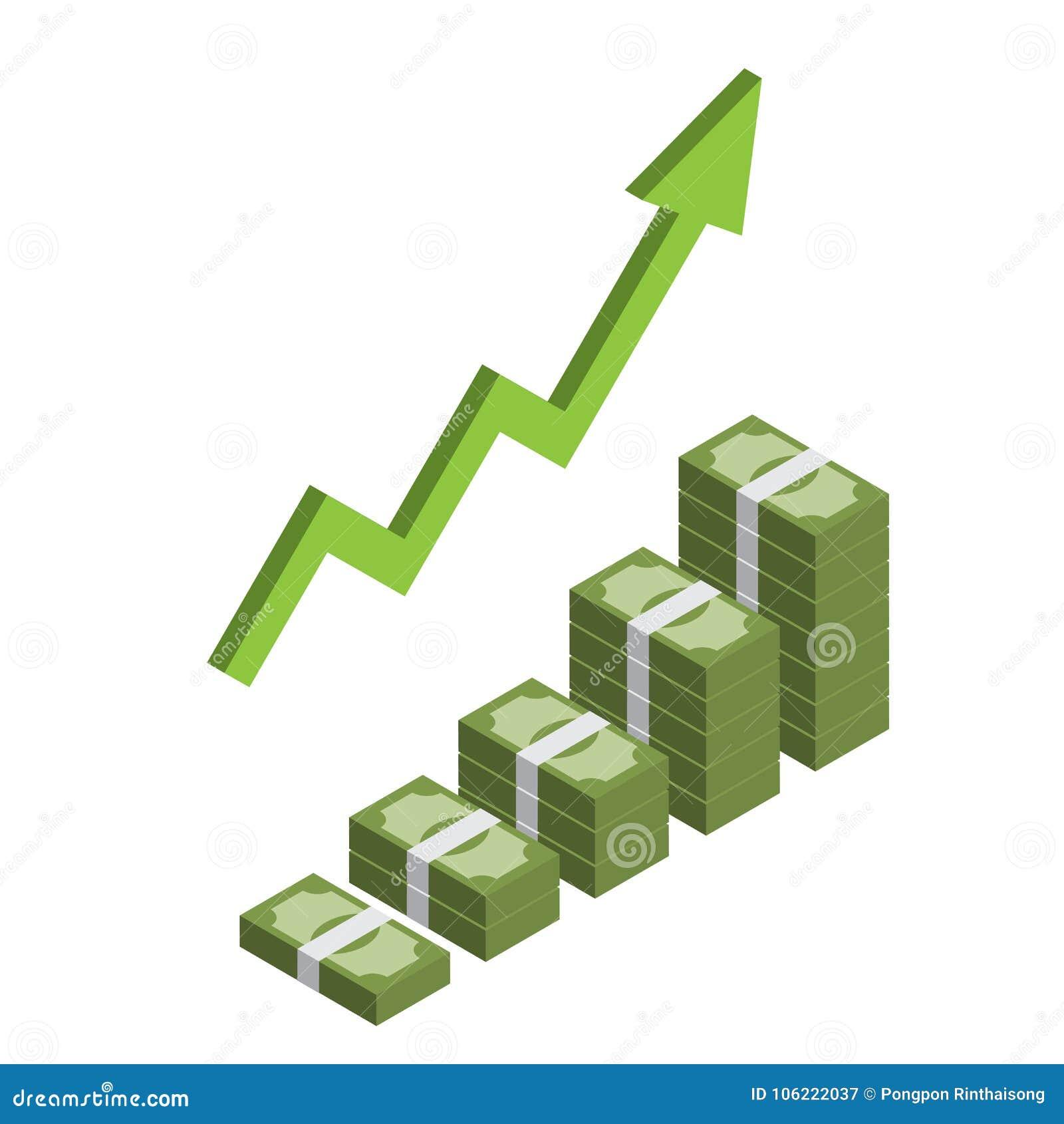 Pila cada vez mayor de dinero isométrico con la flecha, logrando beneficio, crecimiento de los ingresos infographic