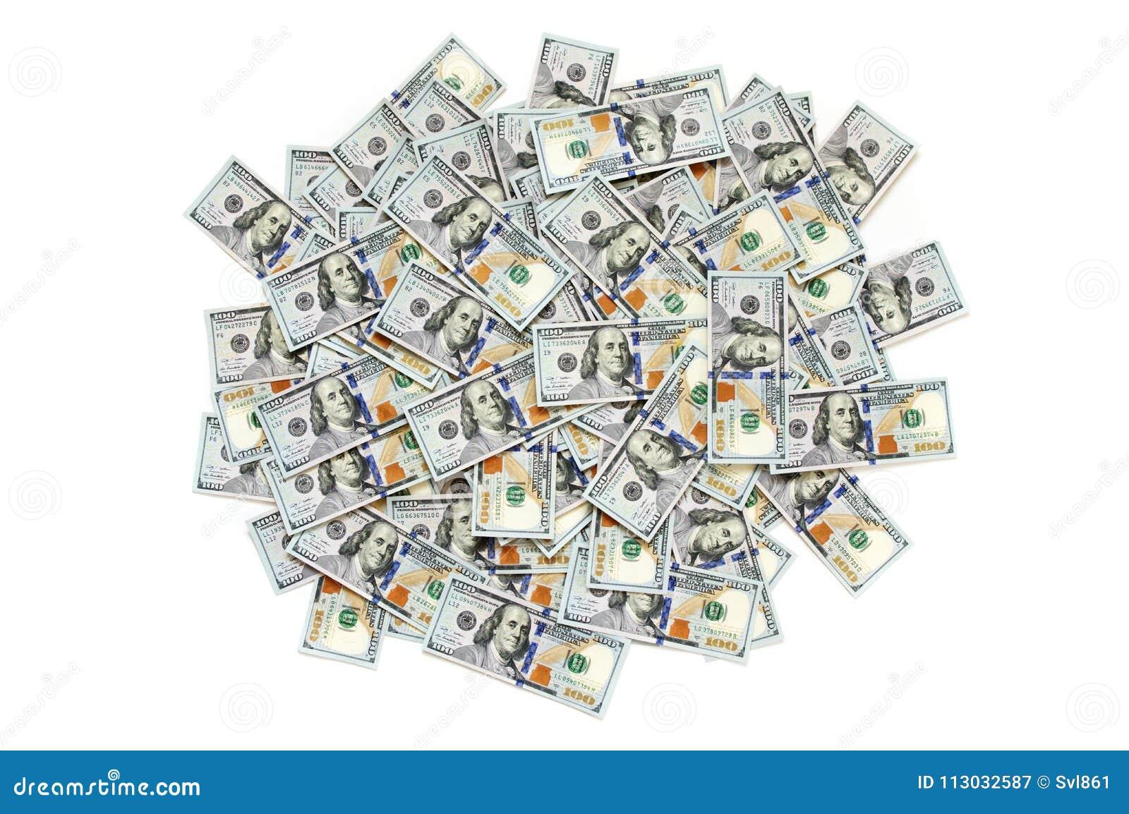 Pila de billetes de dólar