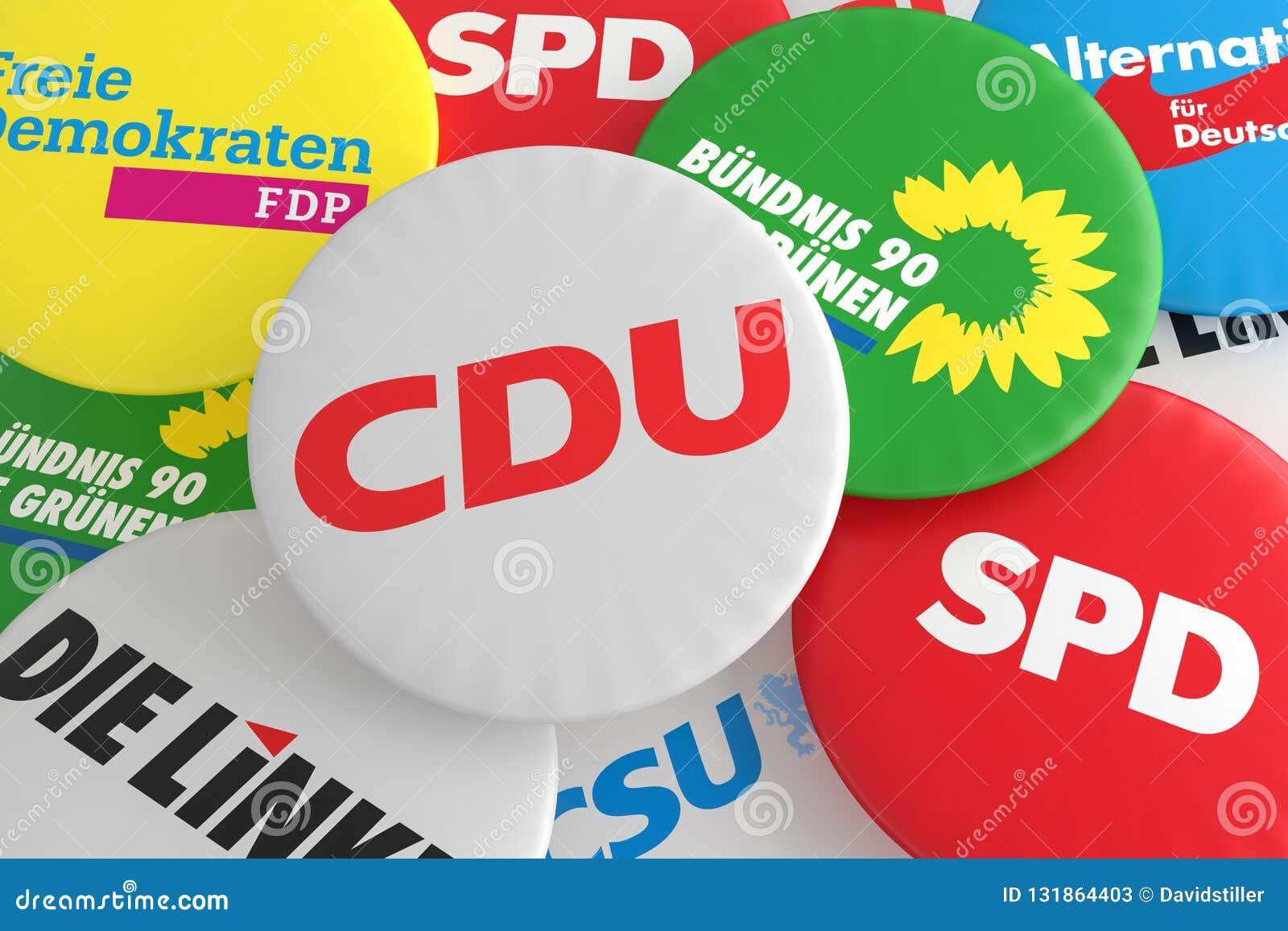 Pila de botones con el logotipo de los partidos políticos CDU, CSU, SPD, FDP, AfD, el izquierdo y los verdes, ejemplo 3d