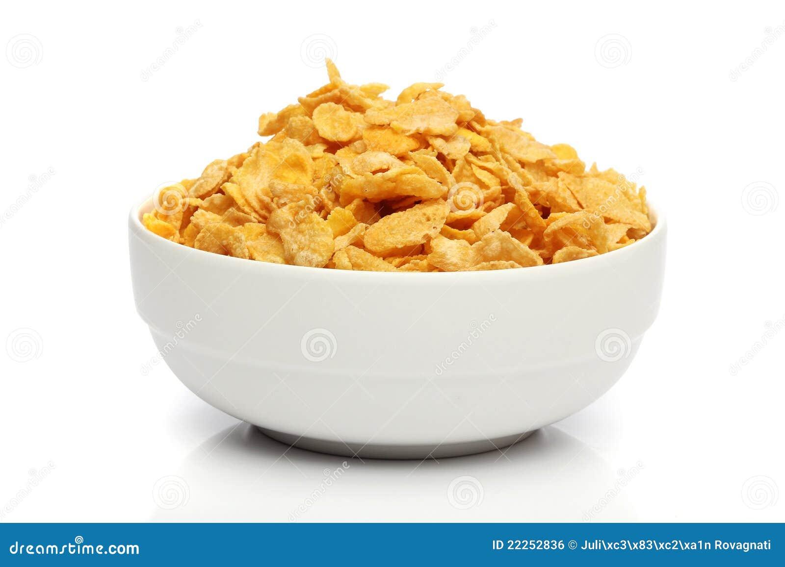 Pila de copos de maíz en un tazón de fuente