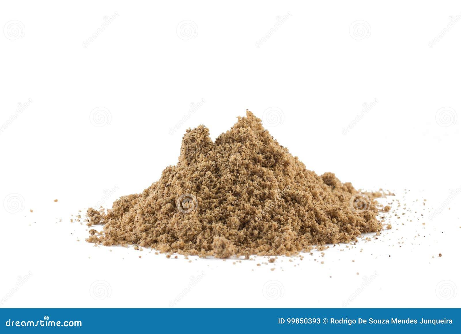 Pila de harina del coco de Brown