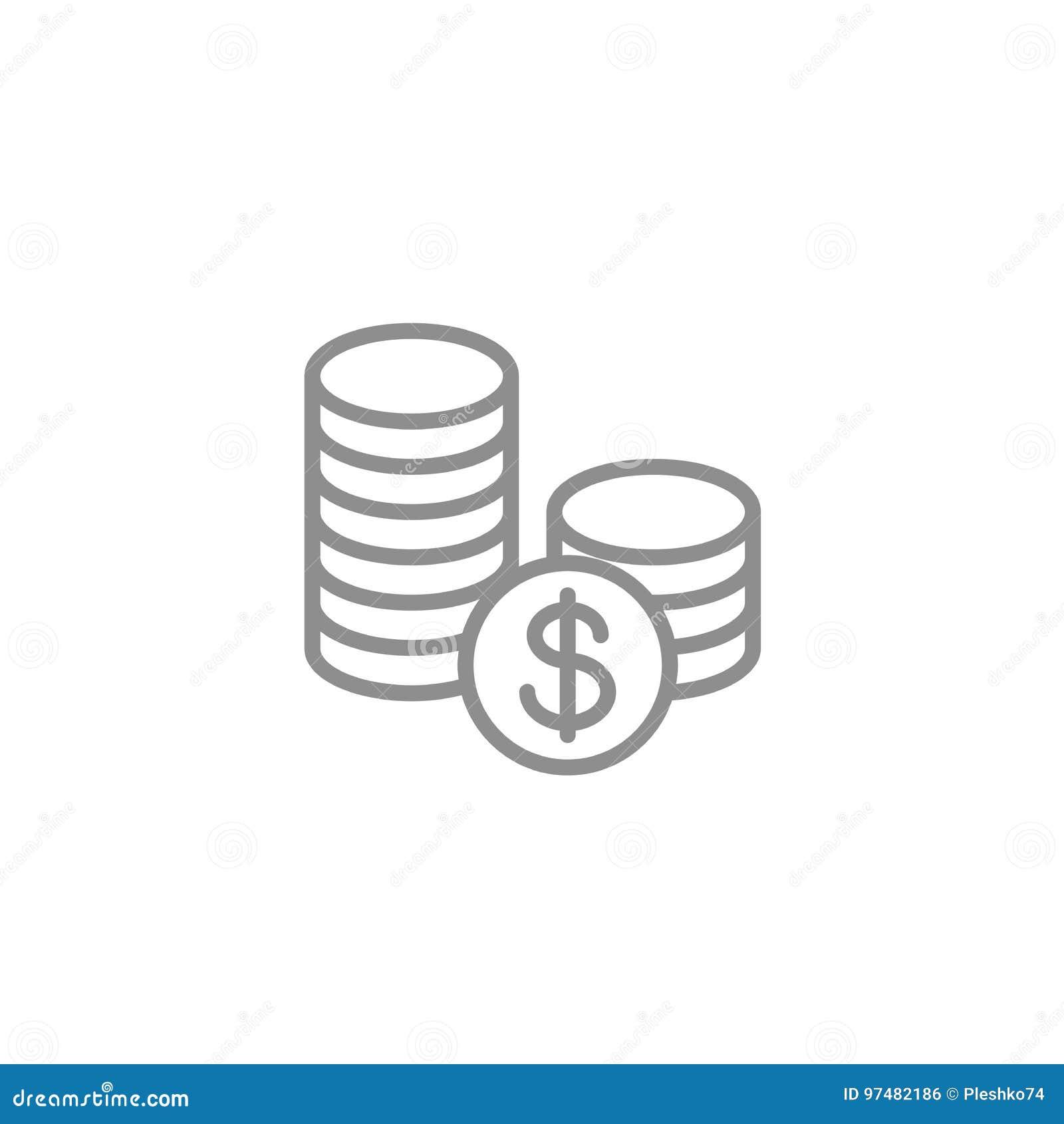 Pila de icono de las monedas Vector del negocio y de las finanzas