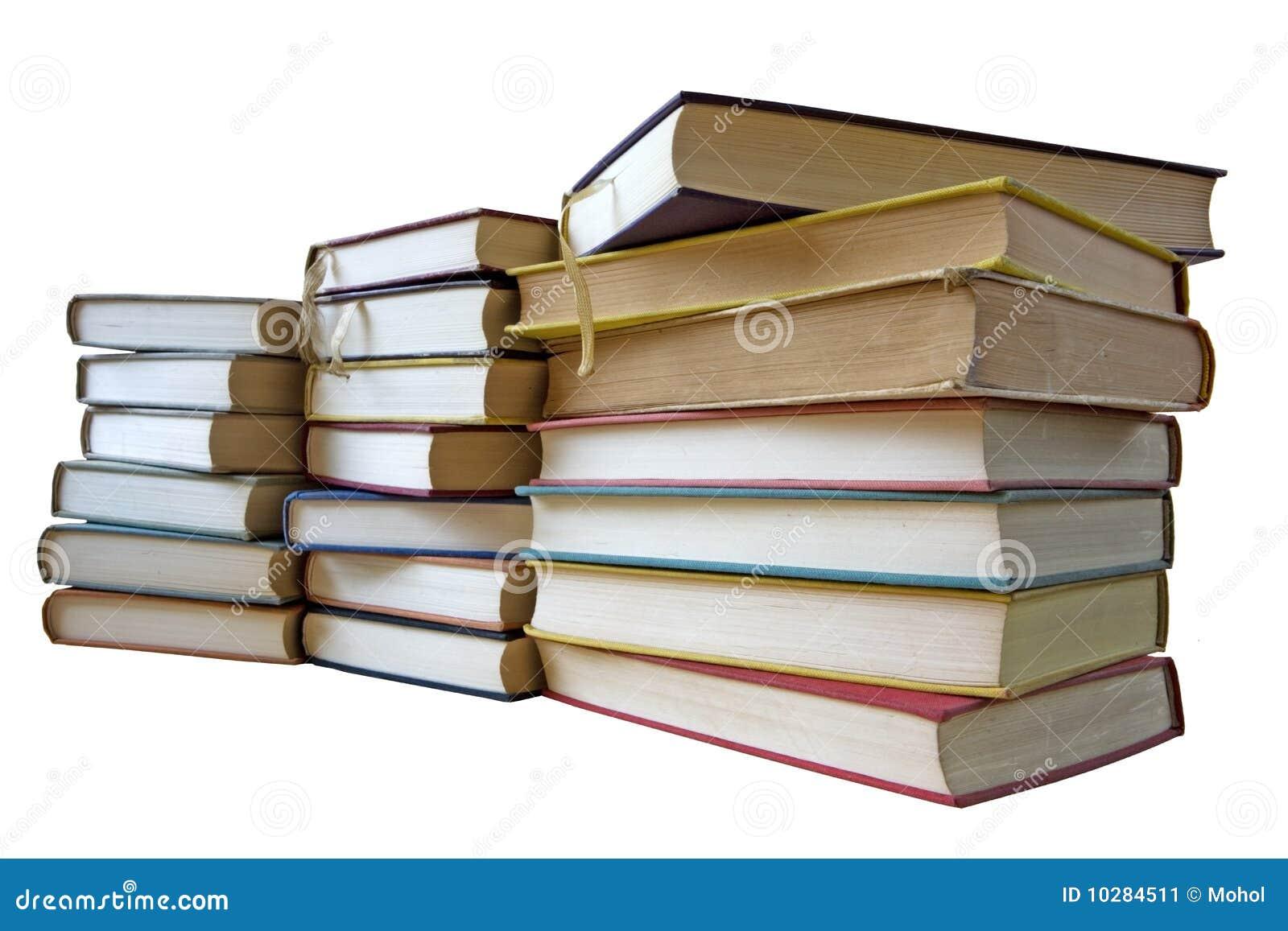 Pila de libros de la vendimia, aislada