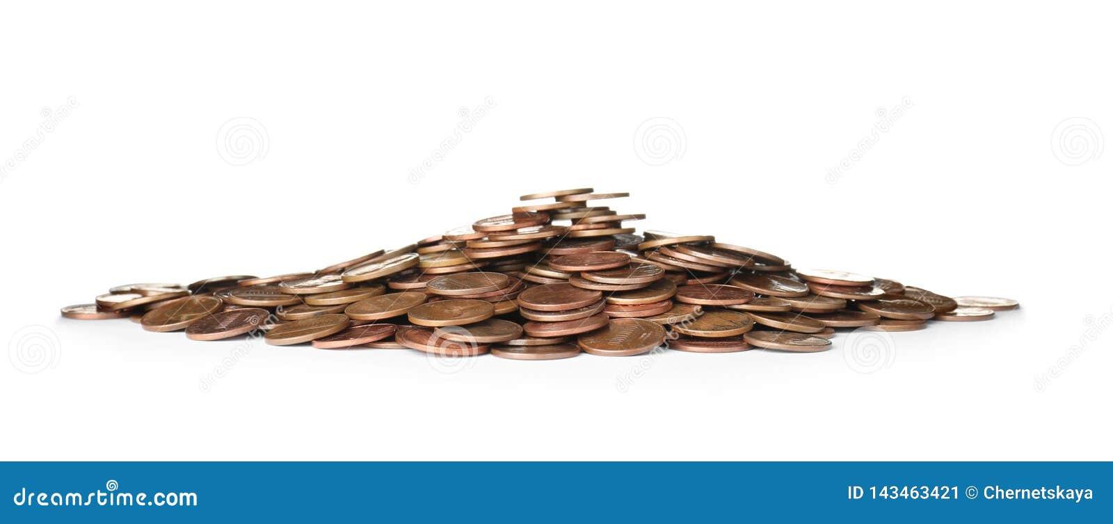 Pila de monedas de los E.E.U.U. aisladas