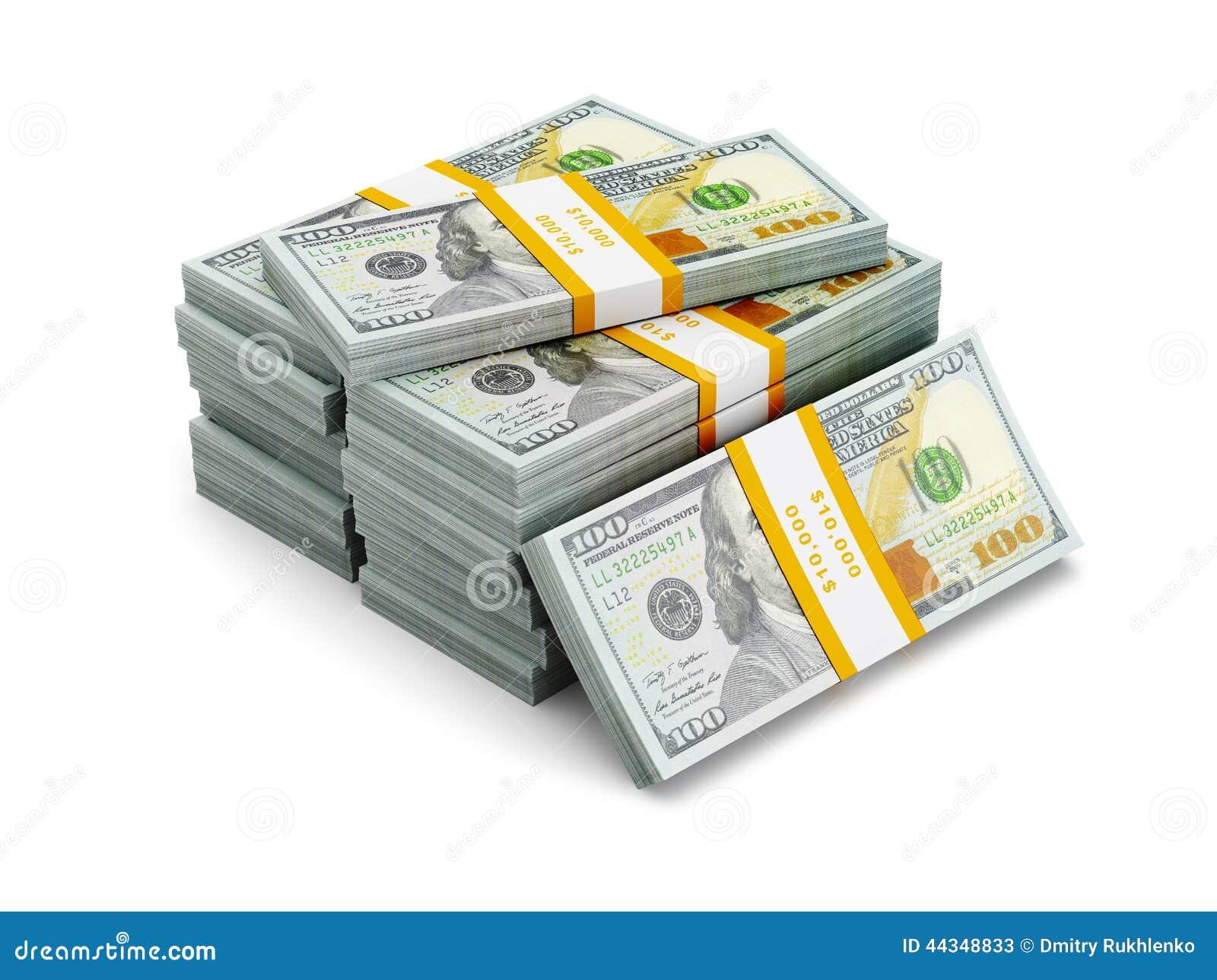 Pila de nuevos 100 dólares de EE. UU. de billetes de banco 2013 de la edición (cuentas) s
