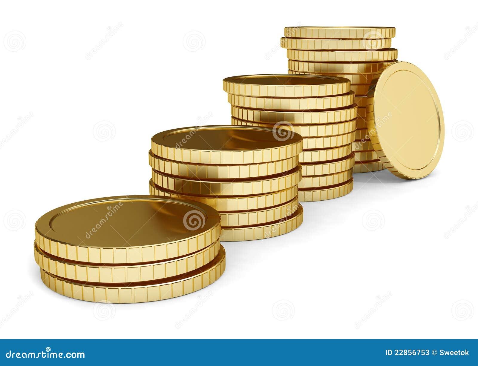 Pila de oro de la endecha de la moneda