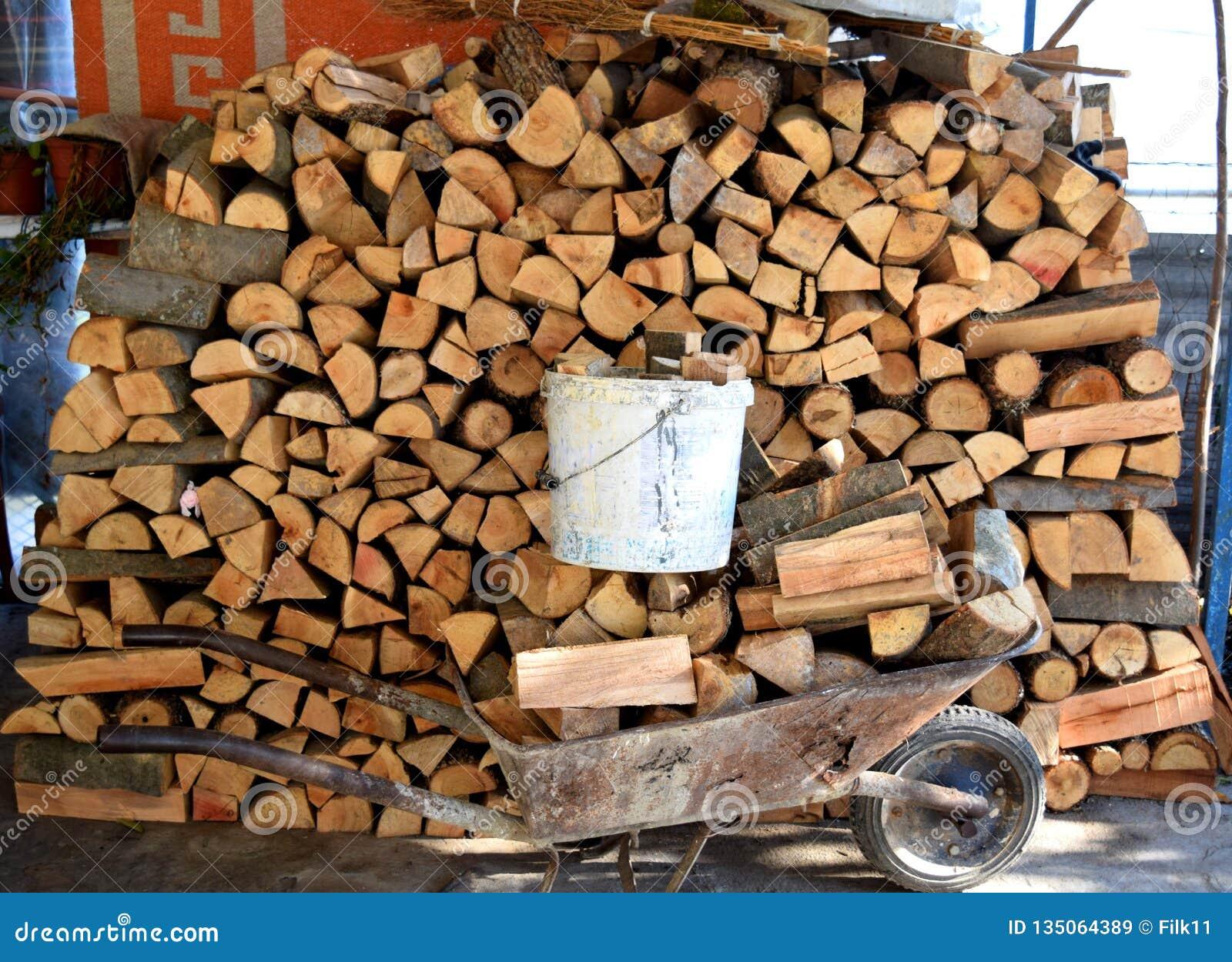 Pila de registros y de carretilla de rueda de madera por completo de bosque