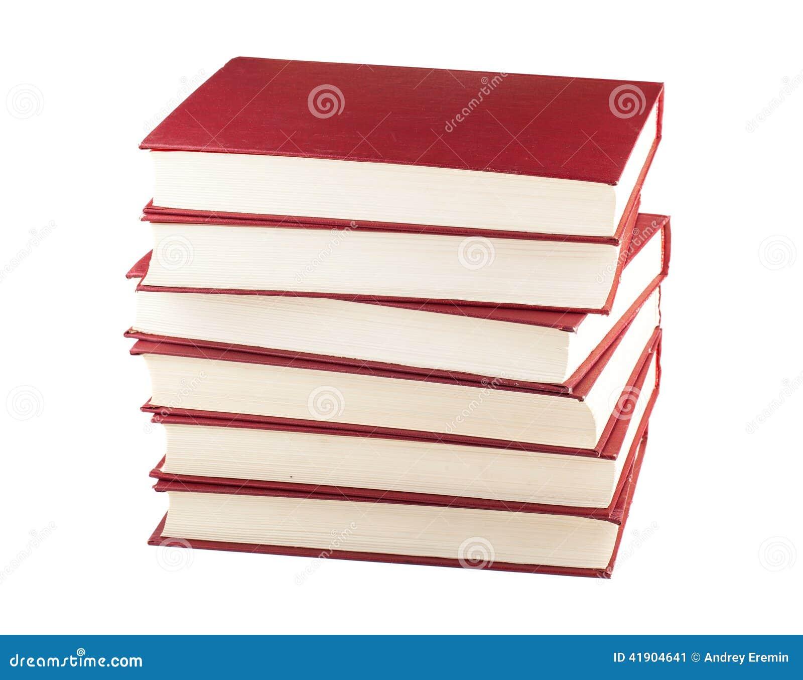 Pila de seis libros rojos