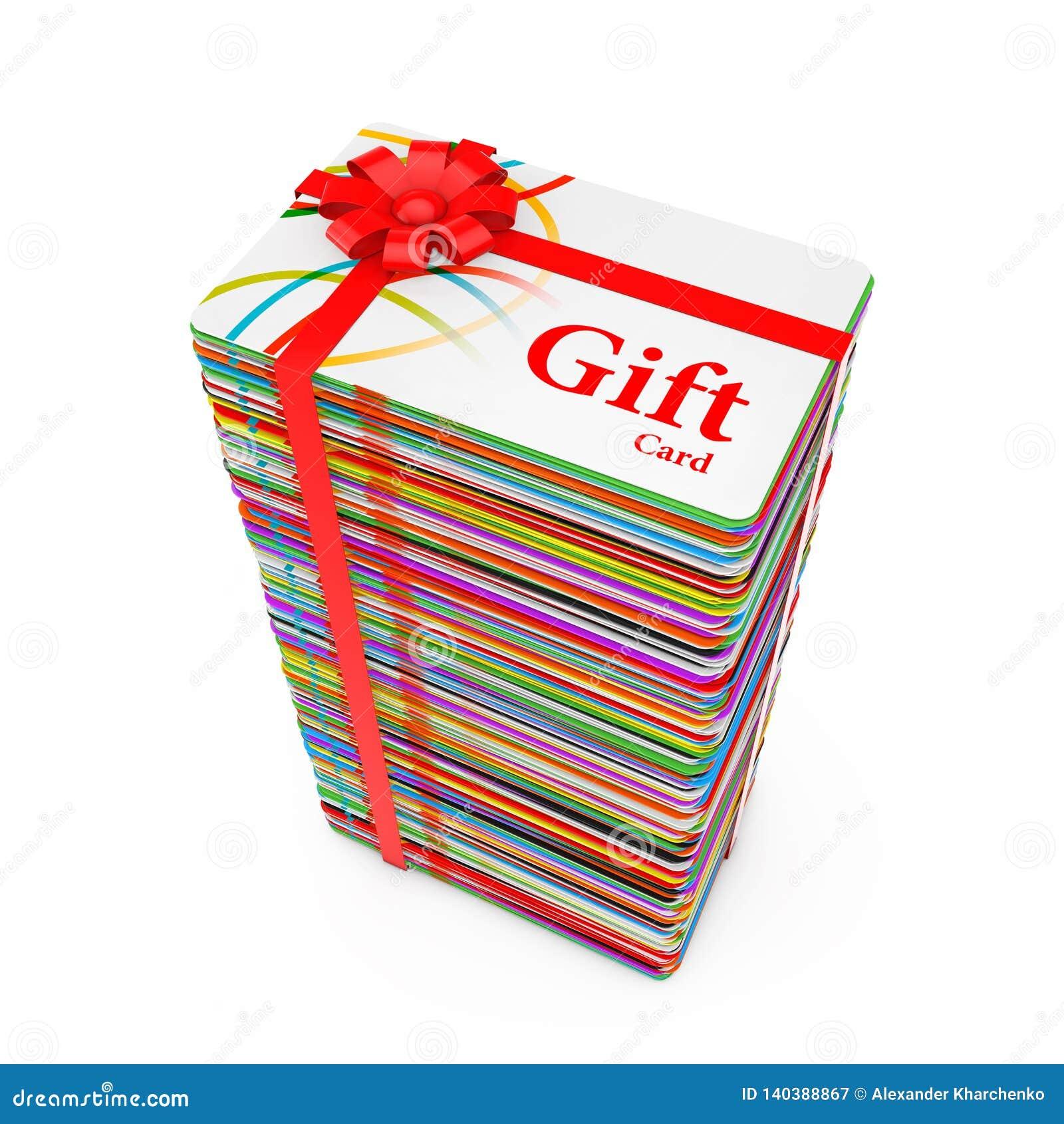 Pila de tarjetas de regalo plásticas multicoloras con la cinta y el arco rojos representación 3d