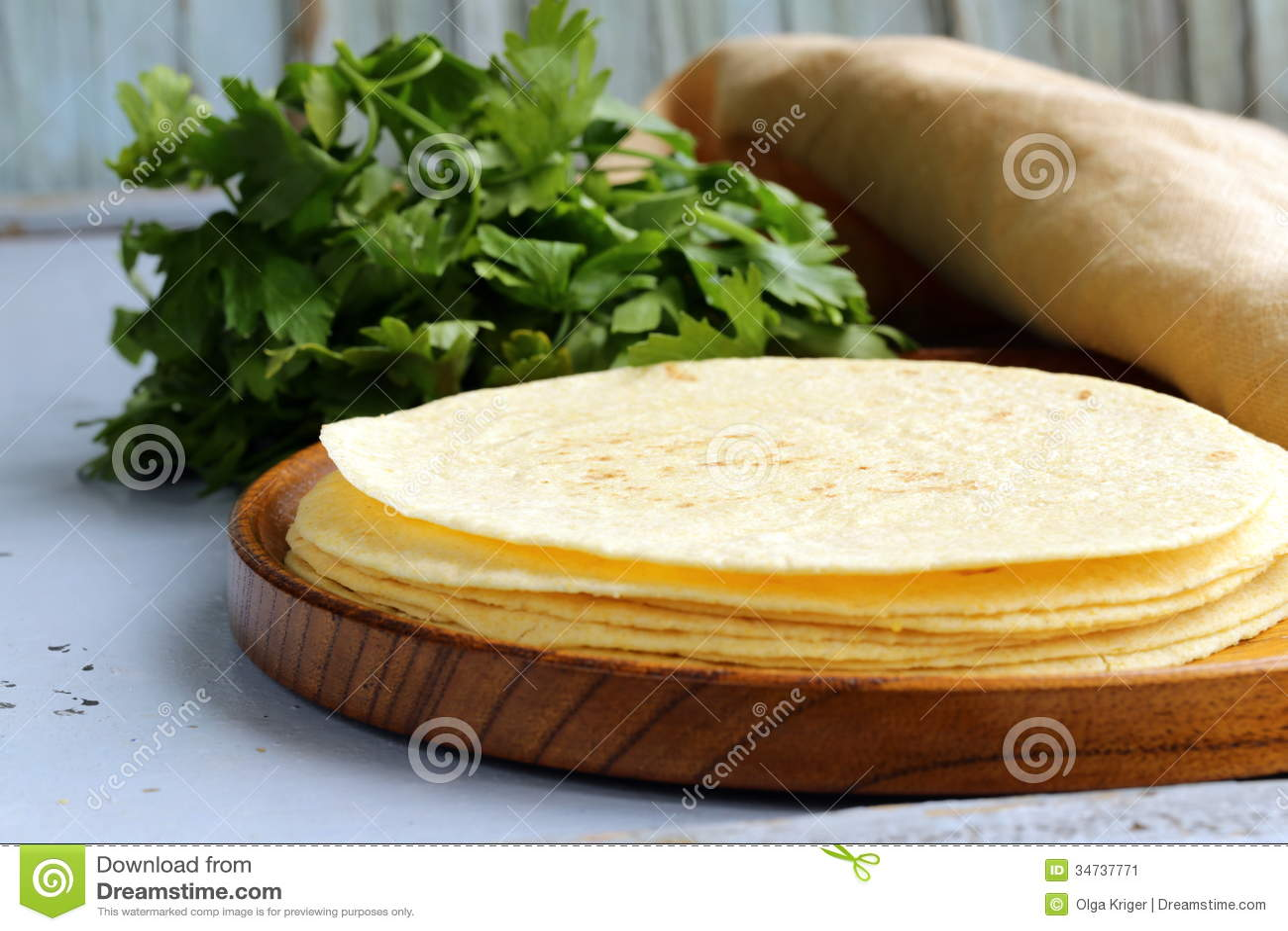 Pila de tortillas de maíz