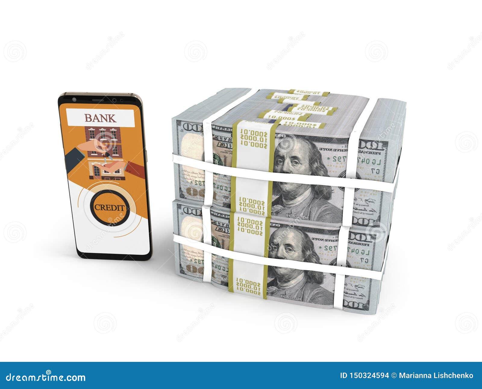 Pila del concepto de dólares en crédito bancario con el smartphone 3d rendir en el fondo blanco con la sombra