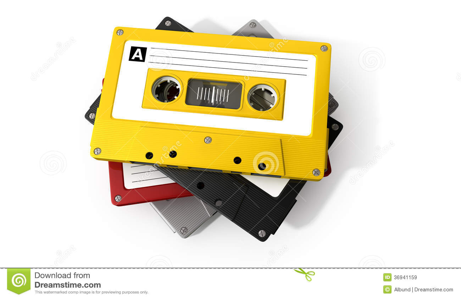 Pila di audio nastro a cassetta