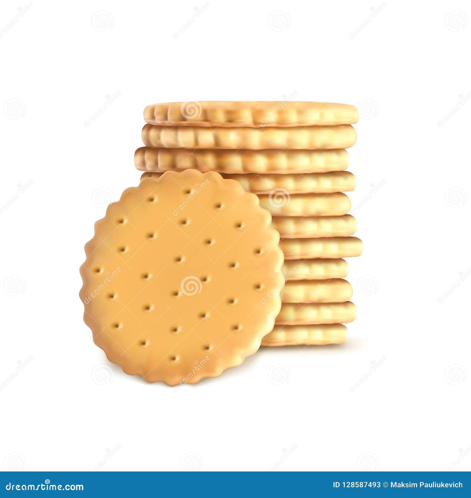 Pila di biscotti rotondi del biscotto Modello, modello per i cracker isolati su fondo bianco Biscotto del grano intero