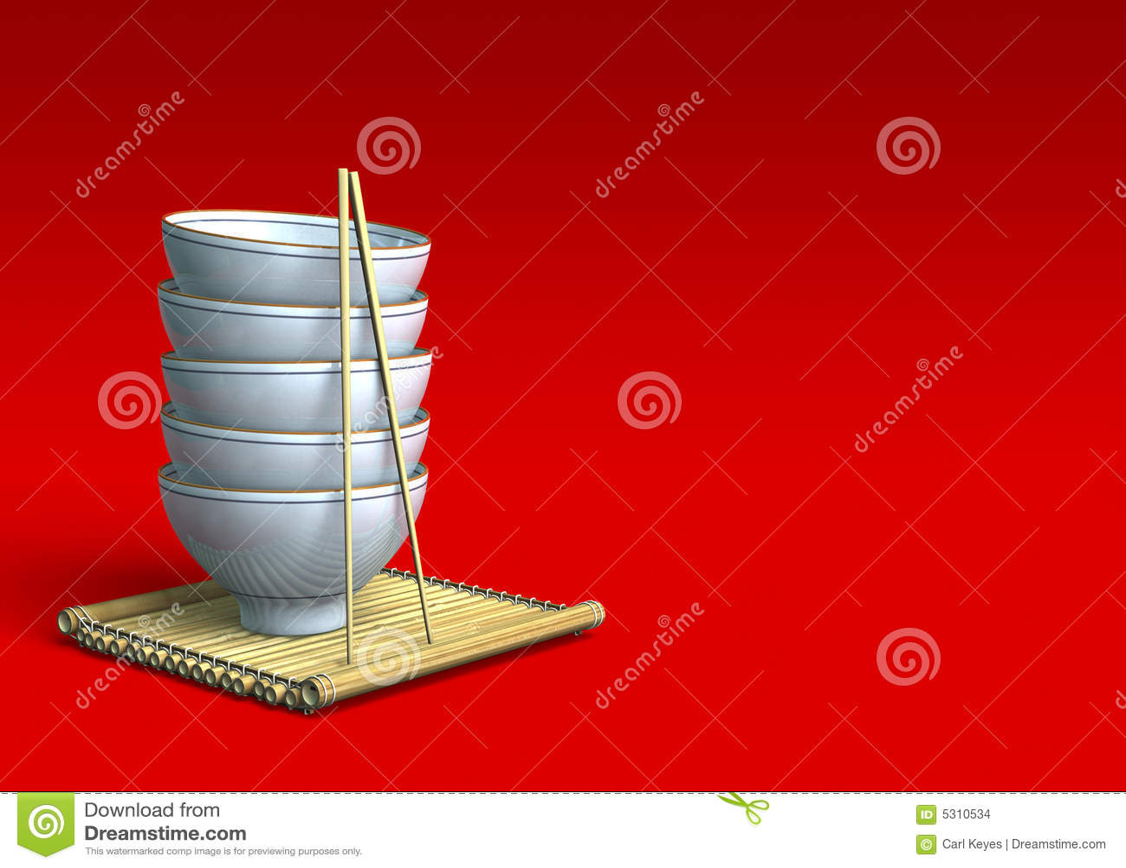 Download Pila Di Ciotole Di Riso Su Una Stuoia Di Bambù Fotografia Stock - Immagine di pasto, giapponese: 5310534