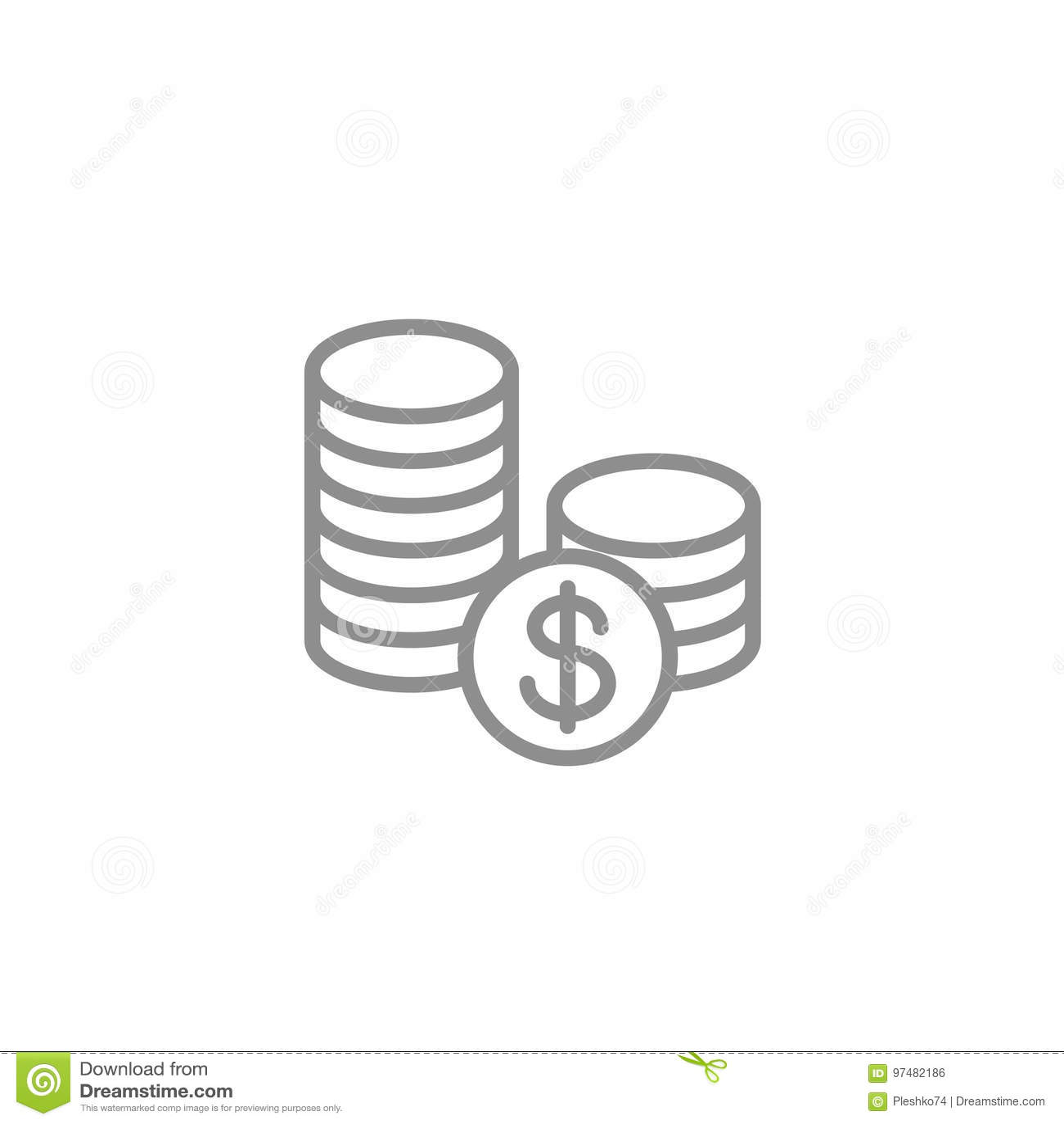 Pila di icona delle monete Vettore di finanza e di affari