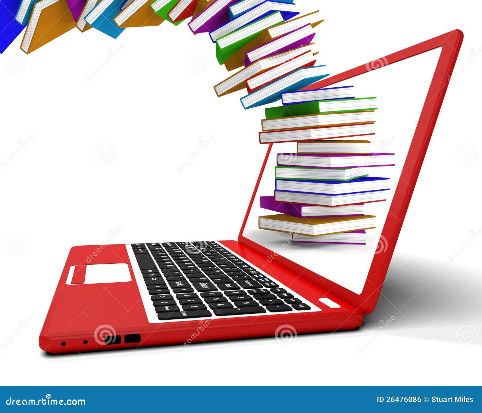 Pila di libri che volano dal calcolatore immagine stock for Libri internet