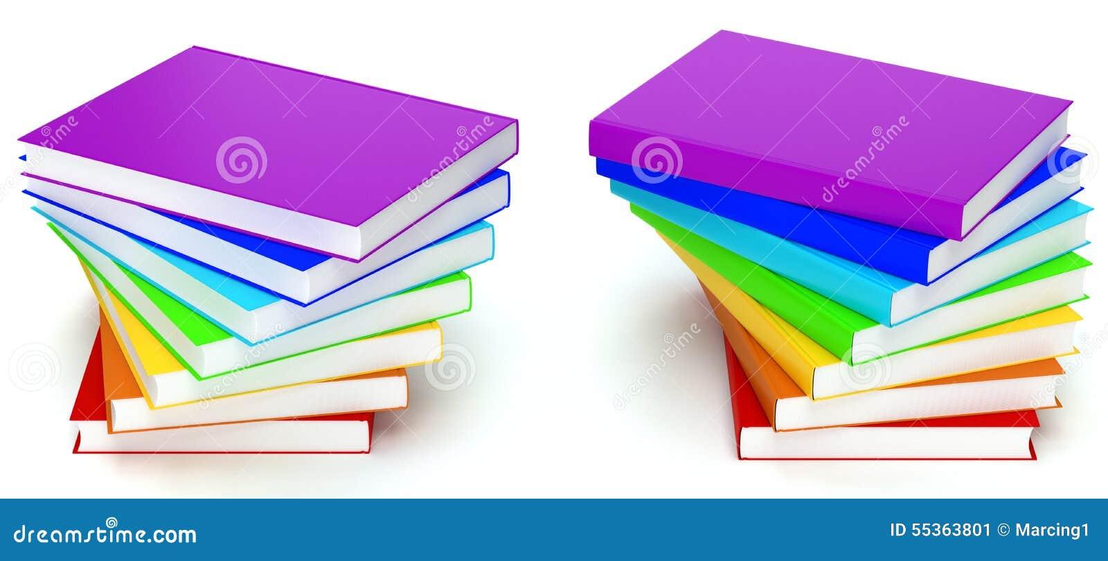 Pila di libri a colori dell arcobaleno su fondo bianco