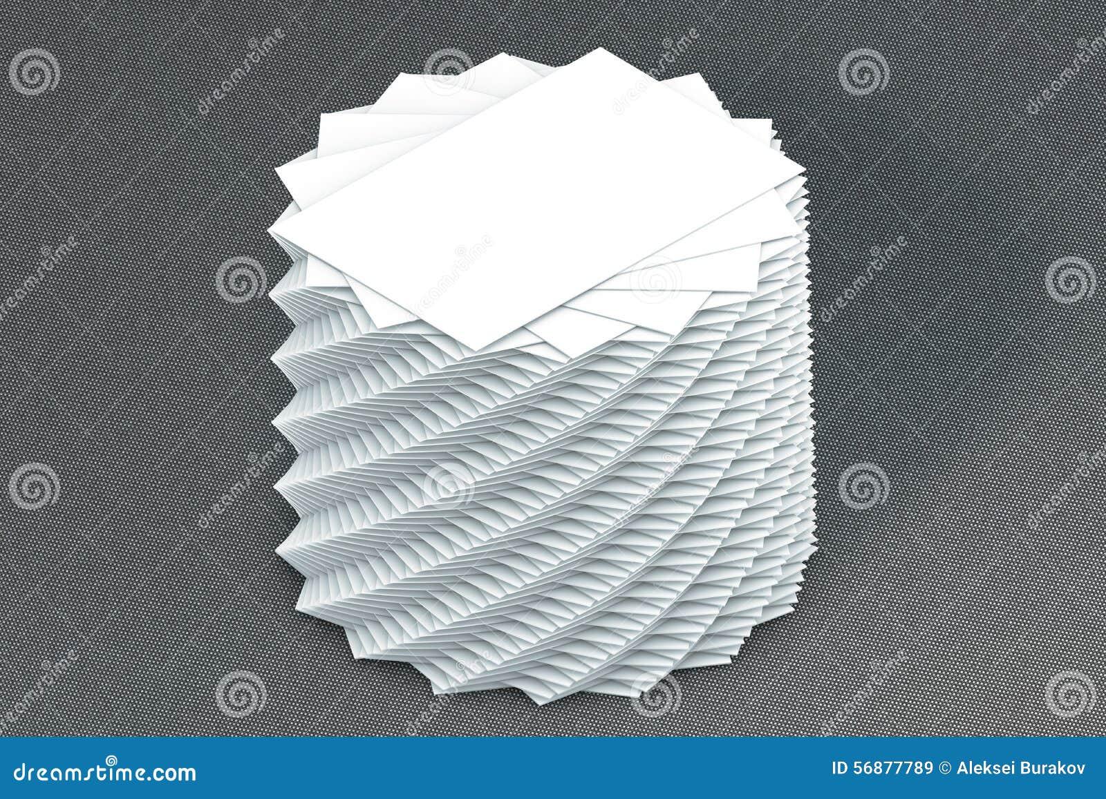 Pila di molte carte di modello di carta alla presentazione