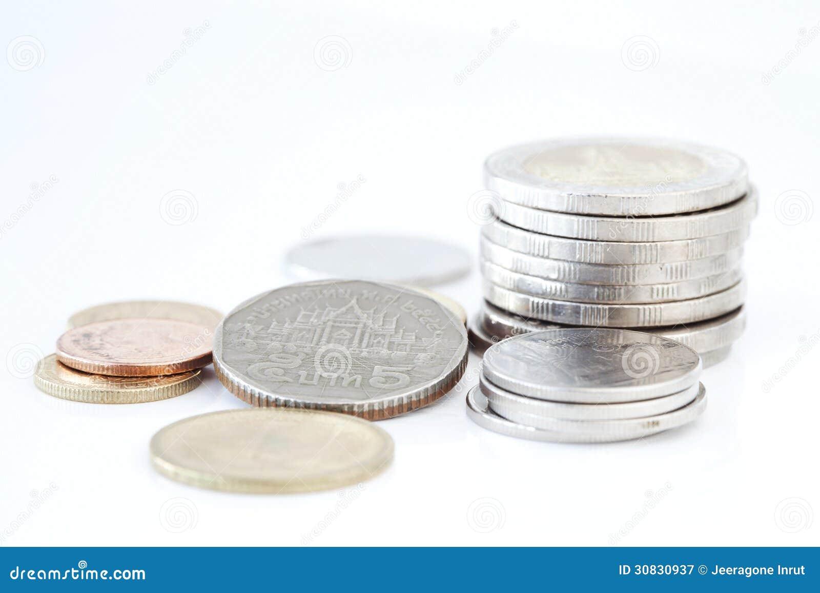 Pila di monete tailandesi