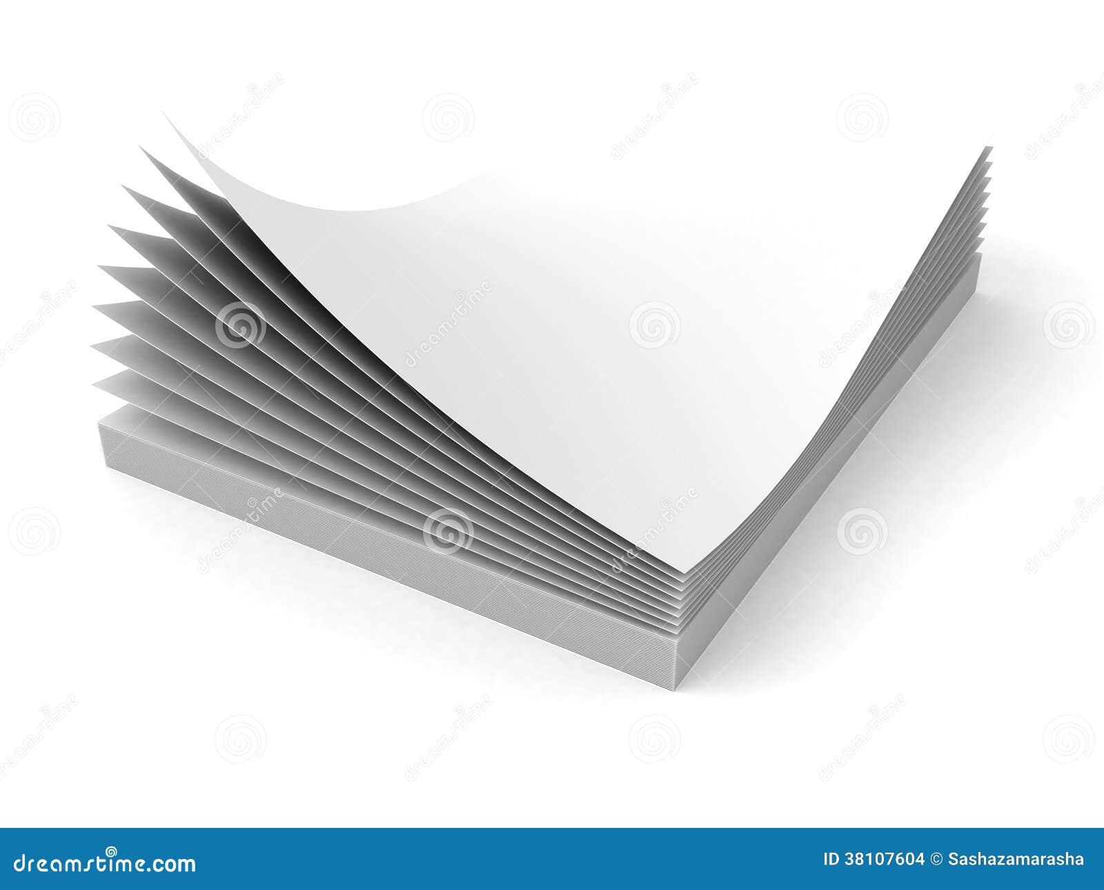 Pila en blanco de las hojas del papel de la oficina en el for Papel para oficina