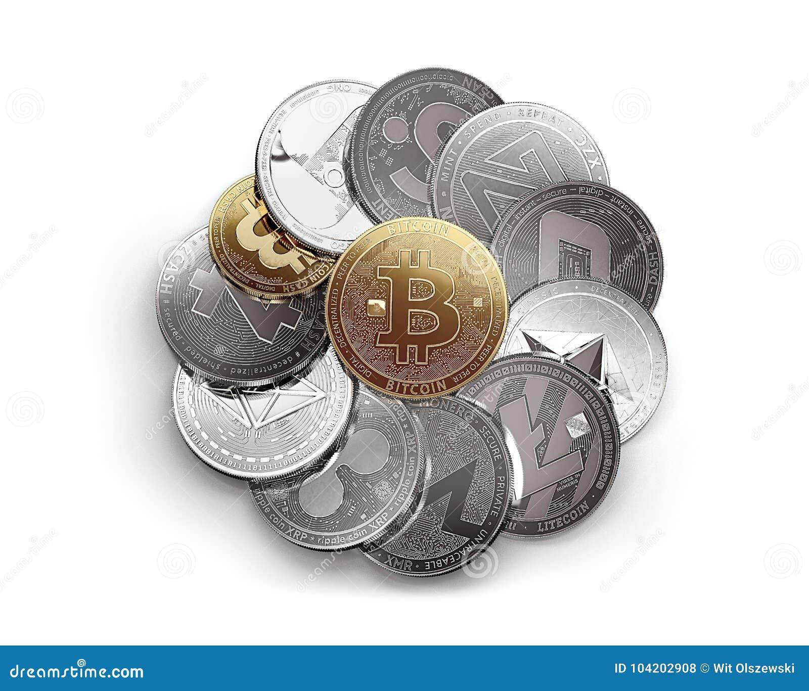Pila enorme di cryptocurrencies differenti isolata su fondo bianco con un bitcoin dorato sulla cima