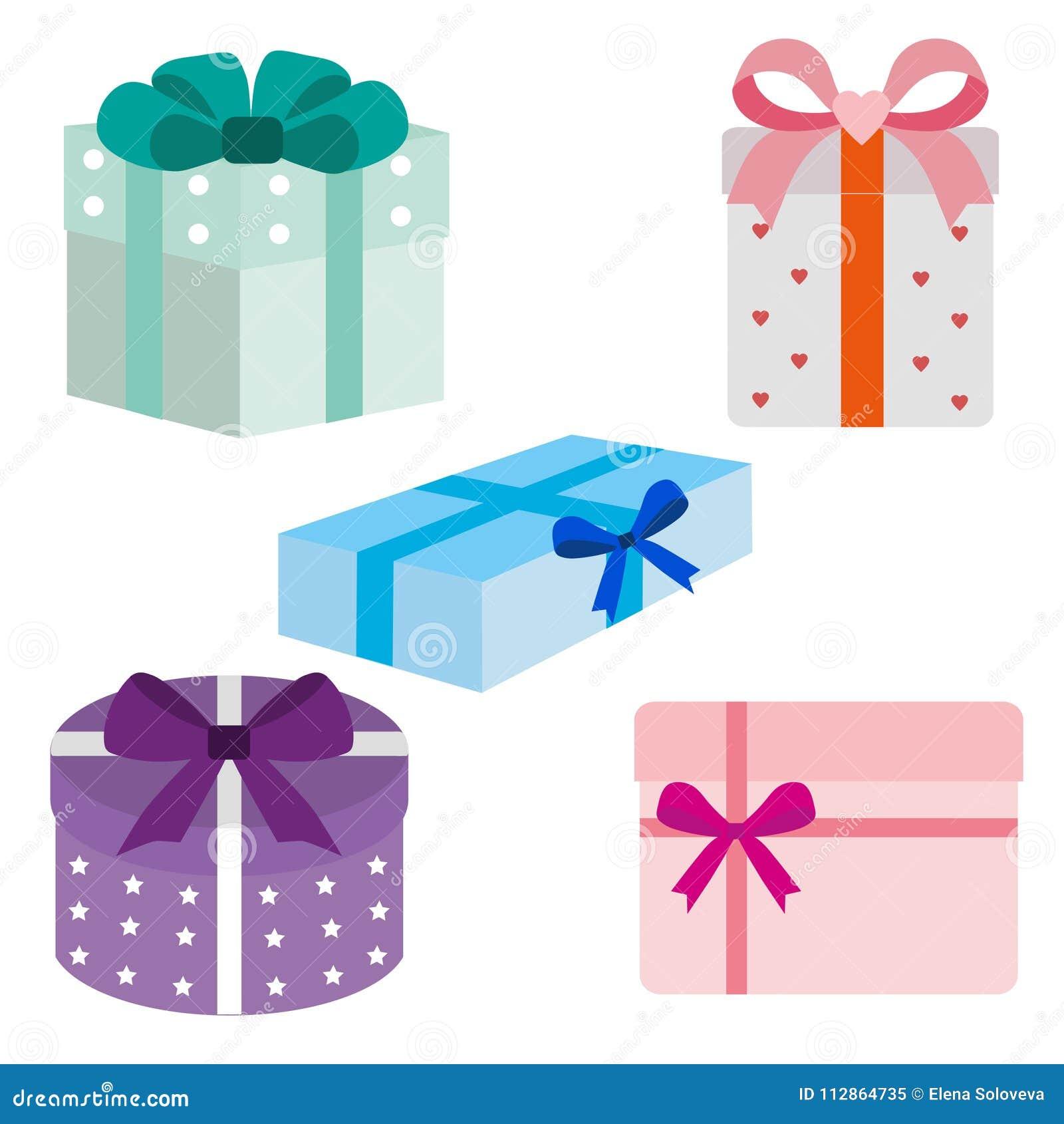 Pila grande de cajas de regalo envueltas coloridas Porciones de presentes Ejemplo plano del estilo aislado en el fondo blanco