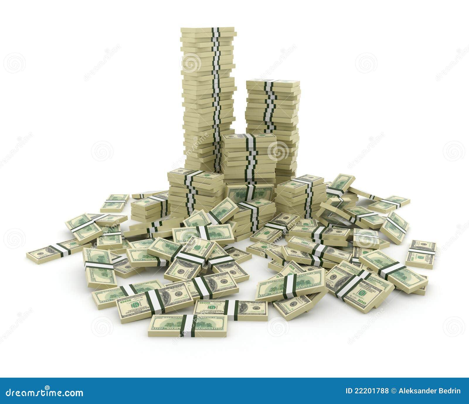 Pila grande del dinero. Dólares verdes de E.E.U.U. 3D