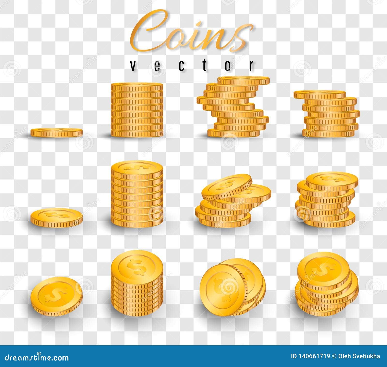 Pila realista de monedas de oro aisladas en fondo transparente Pila de monedas de oro Ilustración del vector