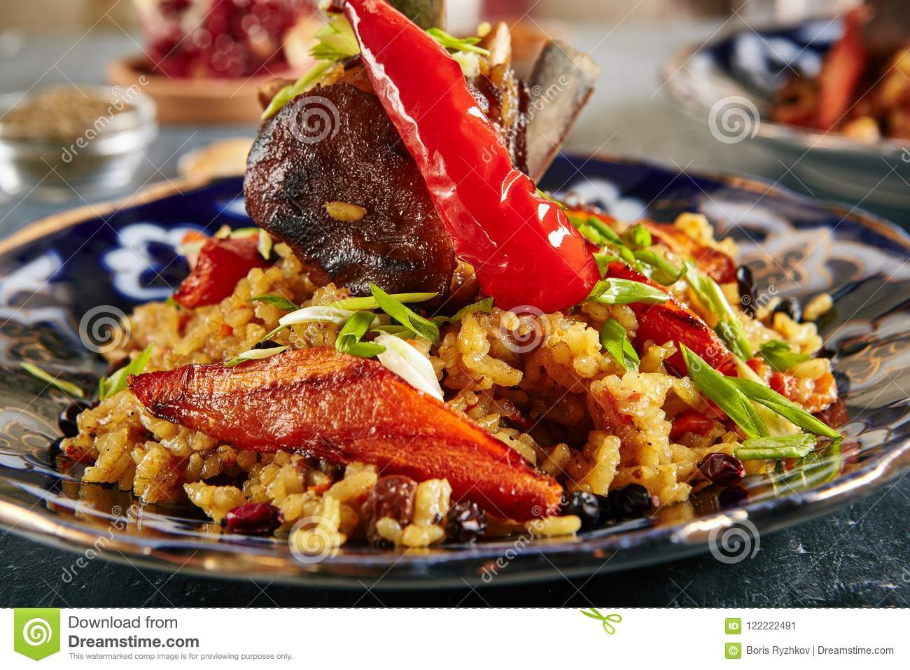 pilaf pilau or plov with beef meat stock image image of close