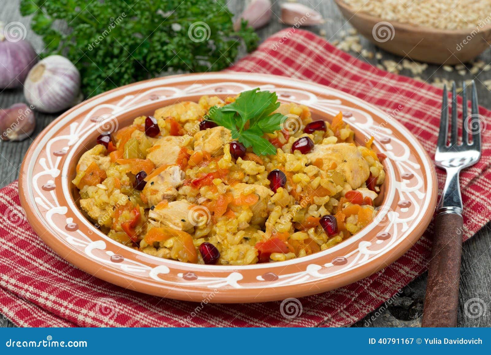 Pilaff med höna och grönsaker