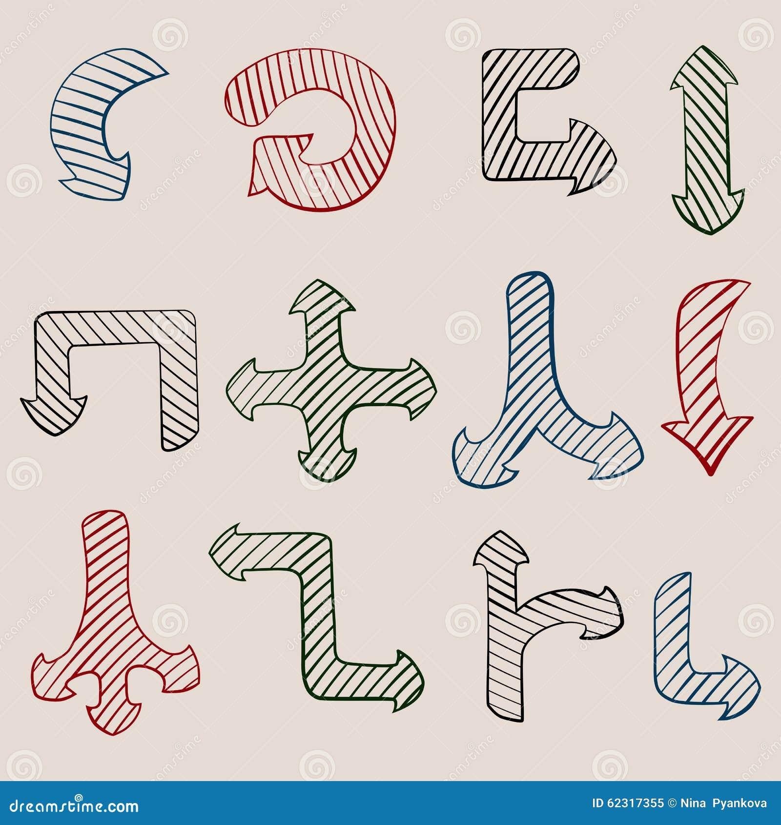 Pilar tecknad set vektor för handillustration