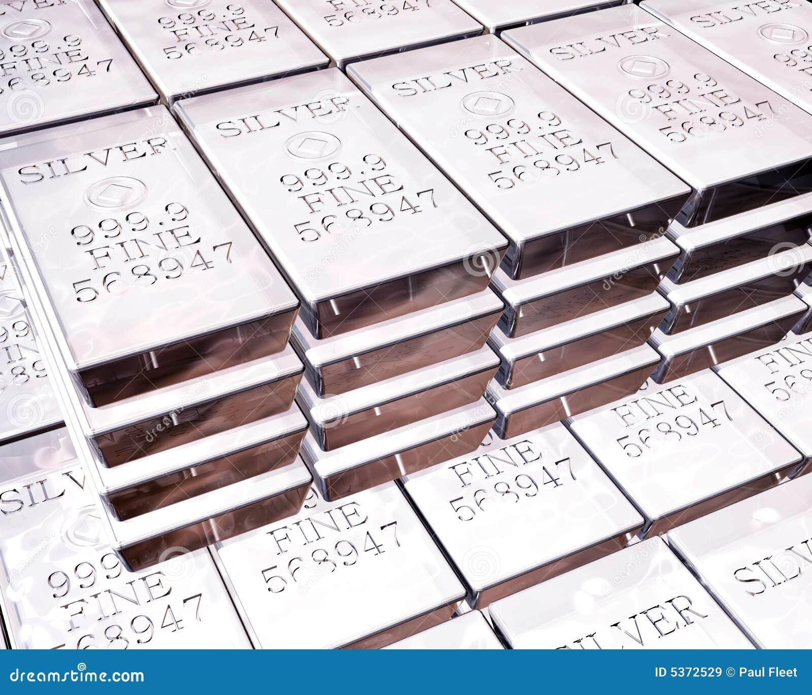 Pilas de las barras de plata