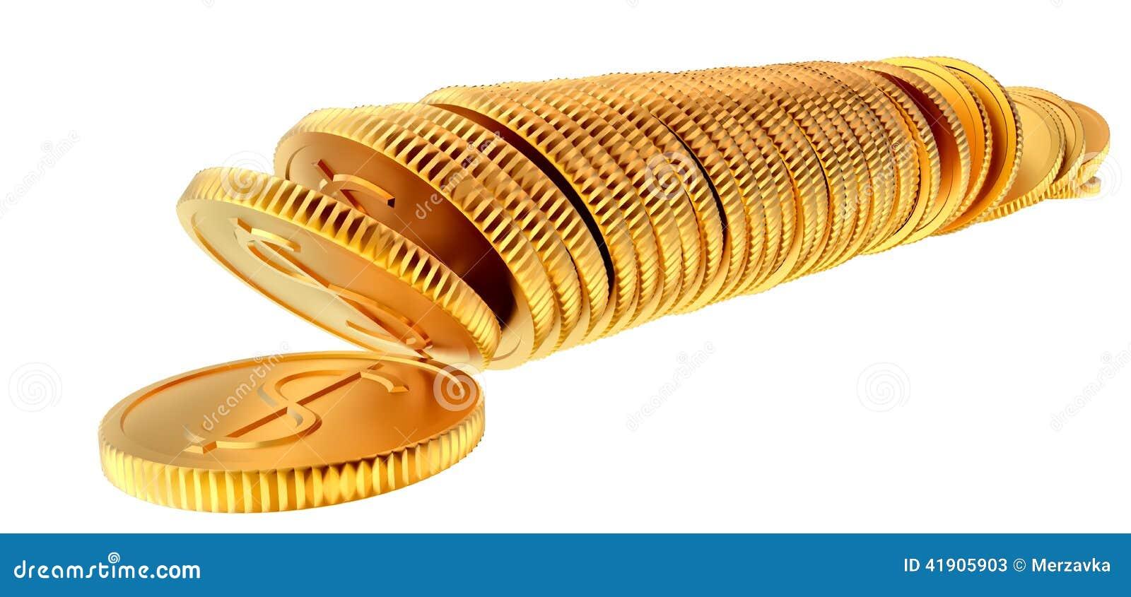 Pilas de monedas del dólar del oro
