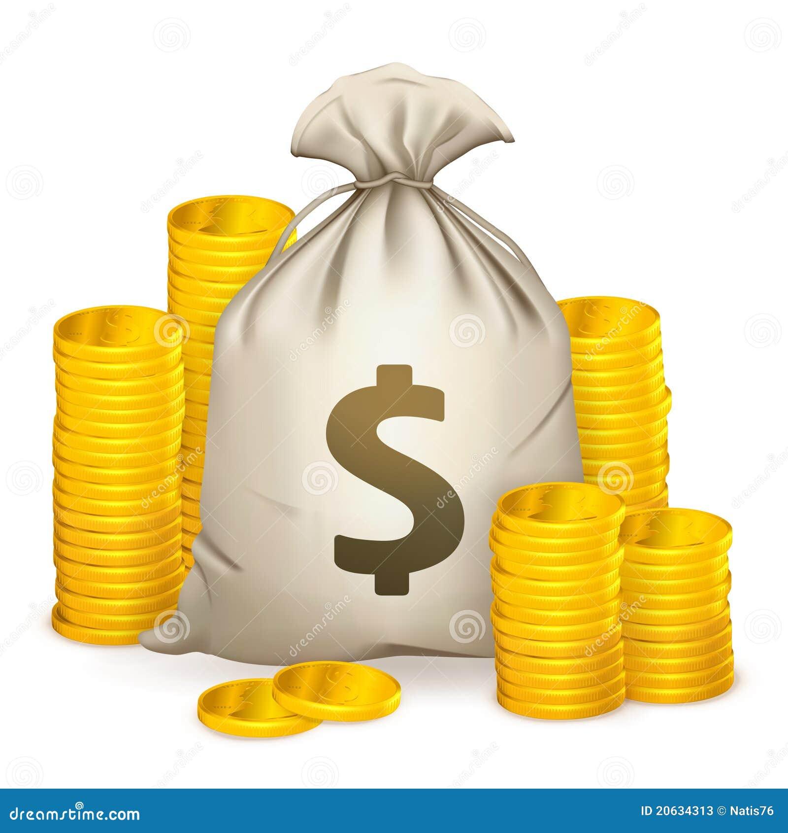 Pilas de monedas y del bolso del dinero