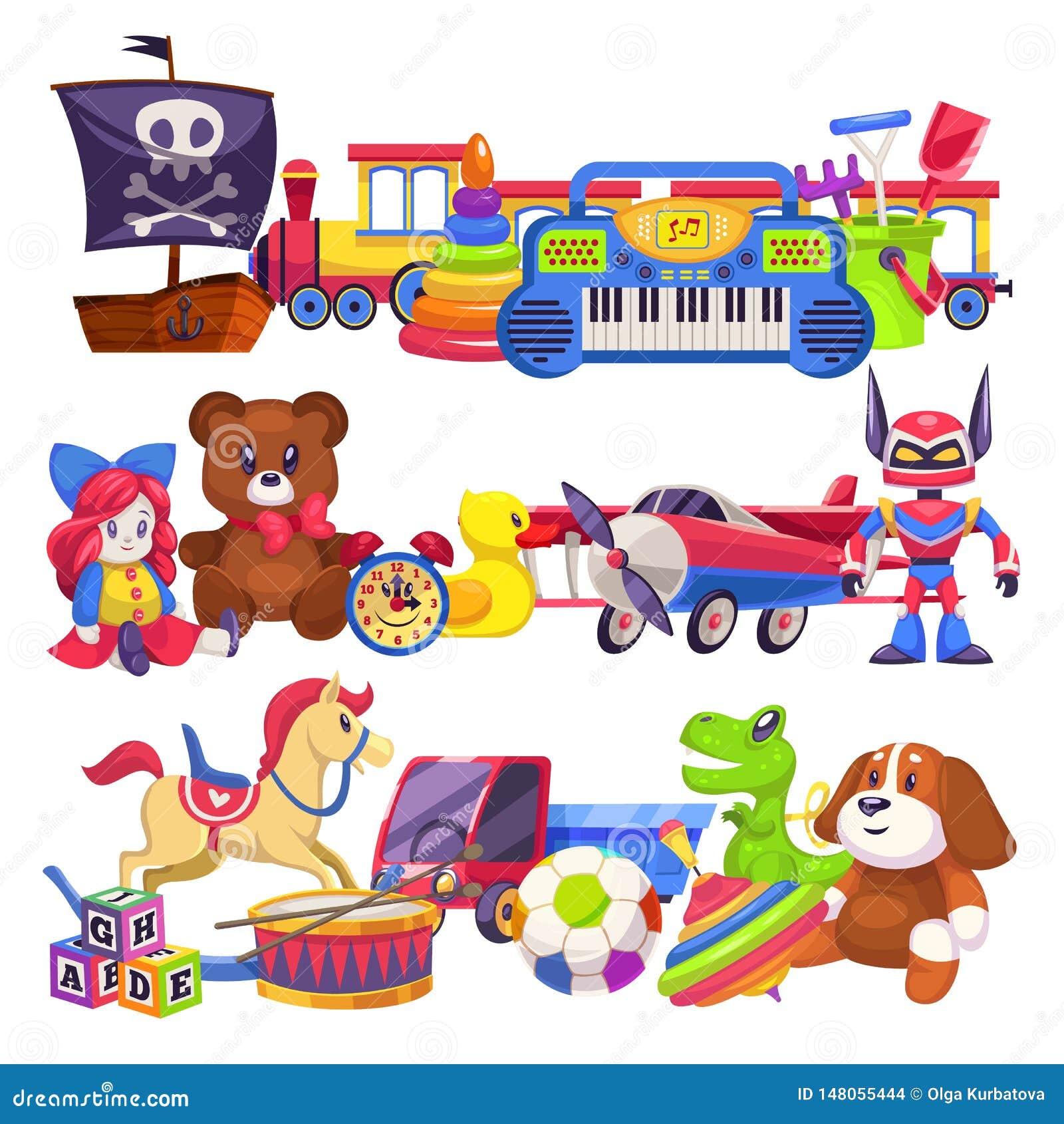 Pilas del juguete Pila colorida linda de los juguetes del niño con el coche, el cubo de la arena, el oso y el perro animales plás