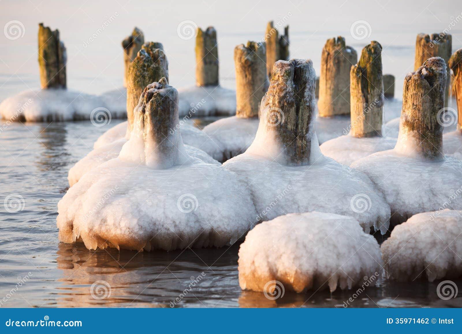 Pilas viejas congeladas del embarcadero