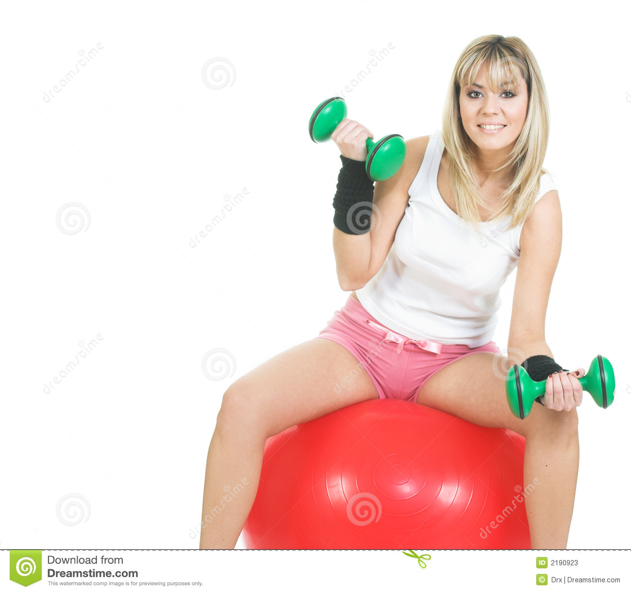 Woman Pilates Chair Exercises Fitness Stock Photo: Pilates Ball Woman Exercise Stock Image