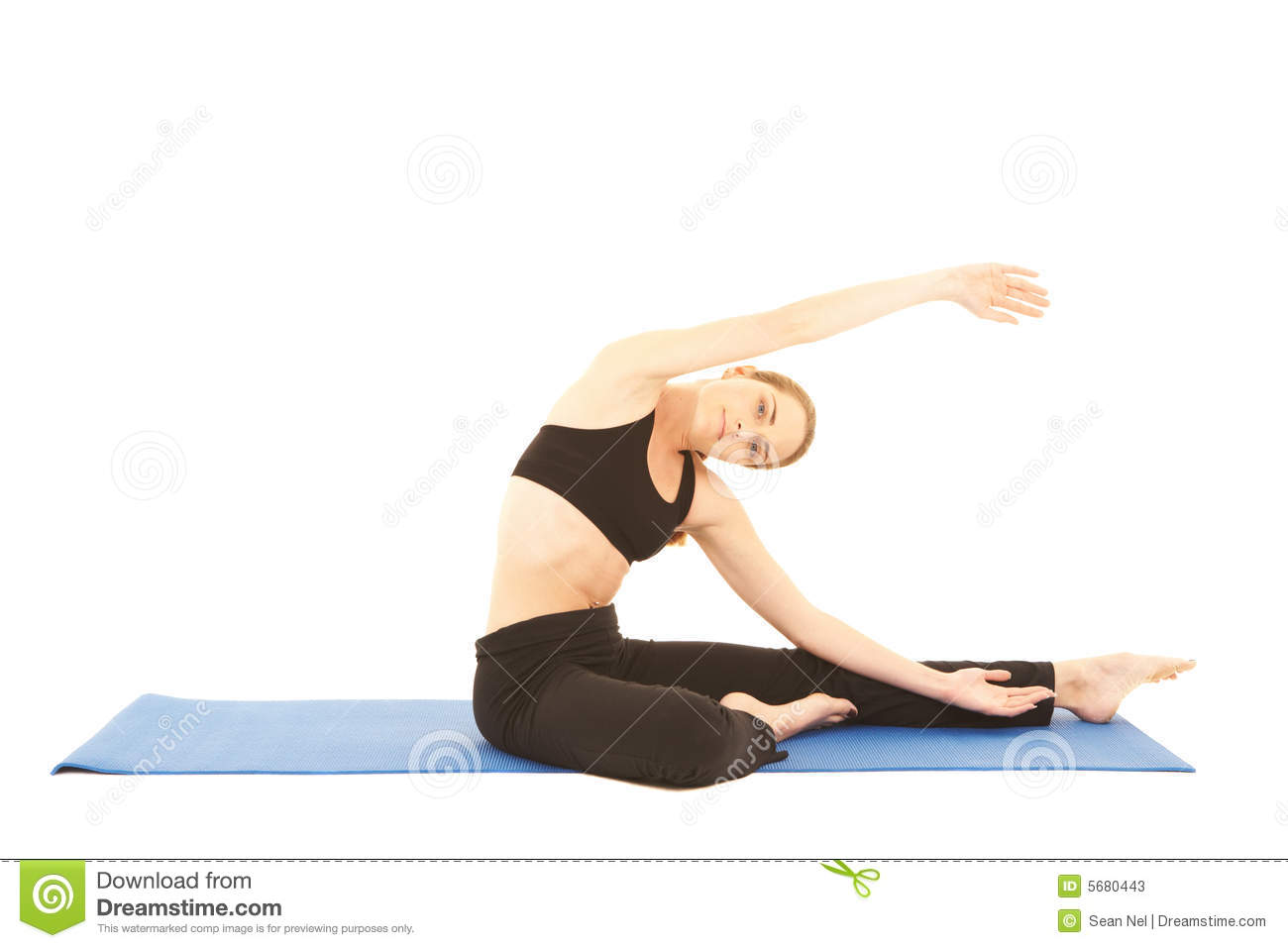 basic pilates equipment ion a yoga mat. White background, NOT ISOLATED ...
