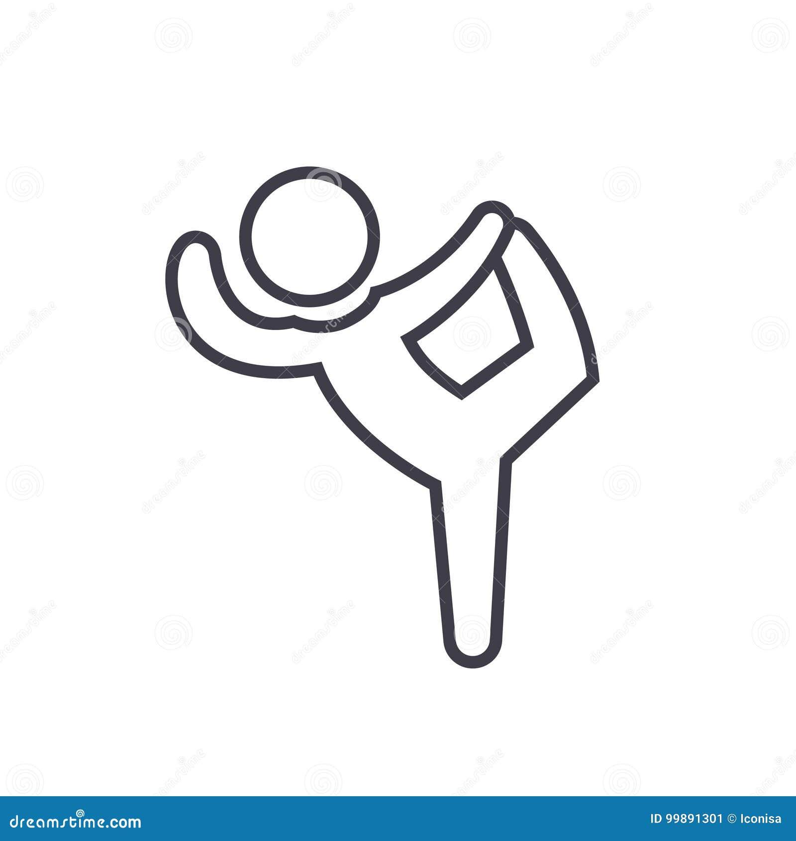 Pilates, Gymnastik, Praxis, üben flaches Zeilendarstellung, lokalisierte Ikone des Konzeptes Vektor auf weißem Hintergrund aus