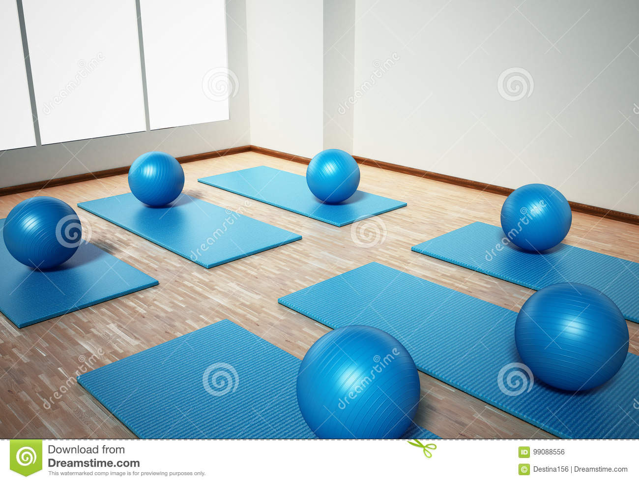 Pilates Mat And Exercise Balls Standing On Parquet Floor
