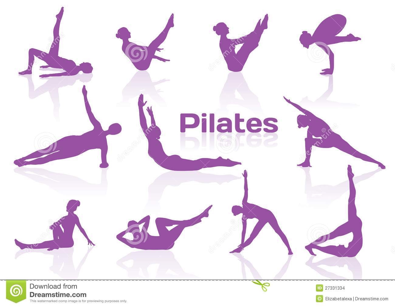 Pilates Poses In Violet Silhouettes Stock Images - Image: 27331334