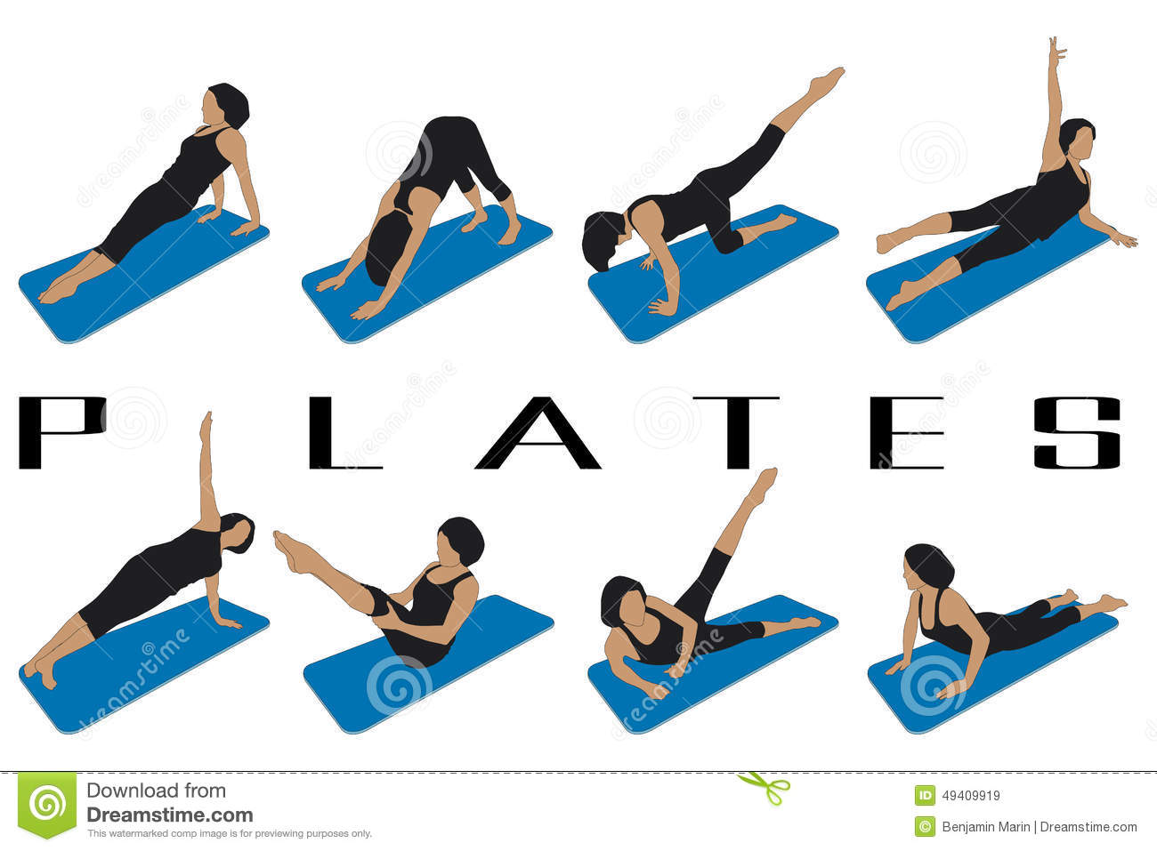 Pilates Stock Vector Image 49409919