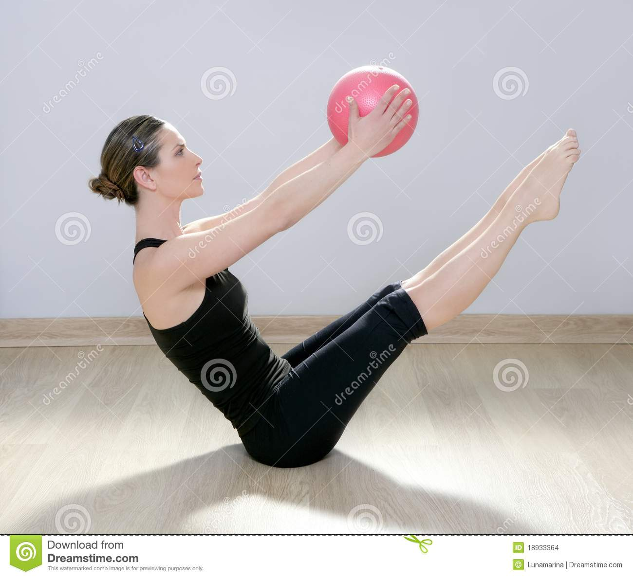 Pilates Woman Stability Ball Gym Fitness Yoga Stock Images