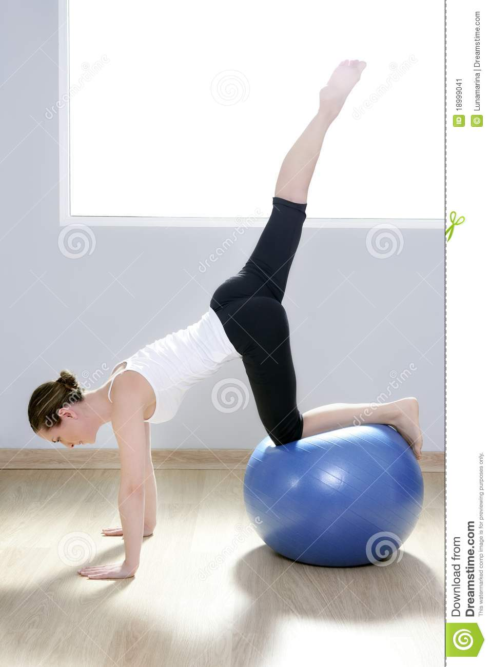 Pilates woman stability ball gym fitness yoga royalty free for Gimnasio pilates