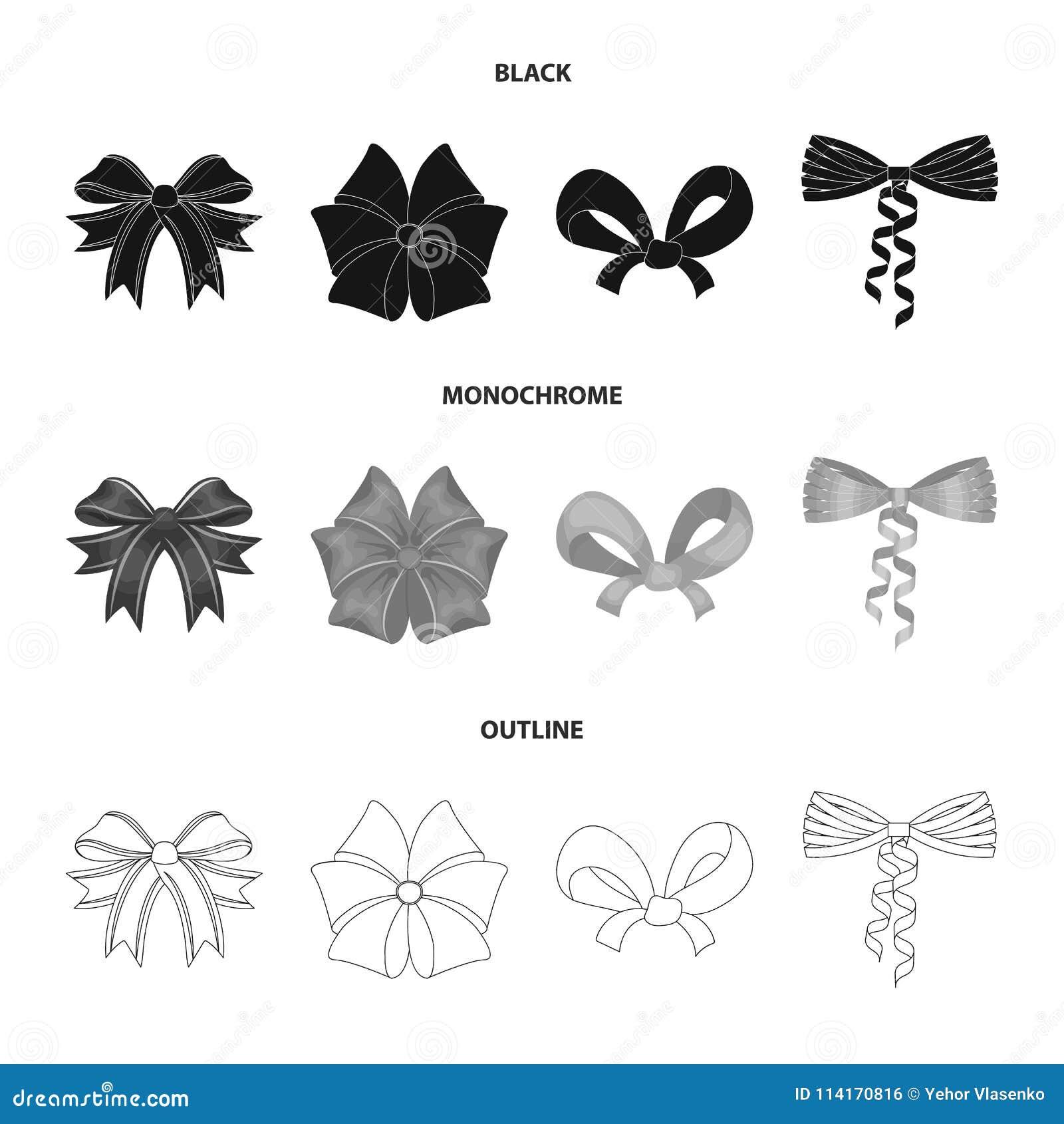 Pilbåge, band, garnering och annan rengöringsduksymbol i svart, monokrom, översiktsstil Gåva pilbågar, knutpunkt, symboler i upps