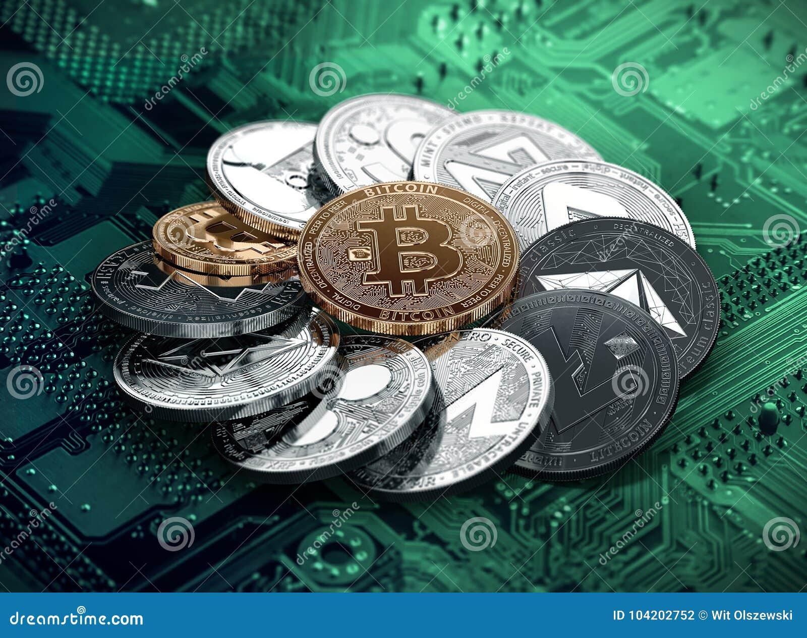 Pile énorme de cryptocurrencies en cercle avec un bitcoin d or au milieu